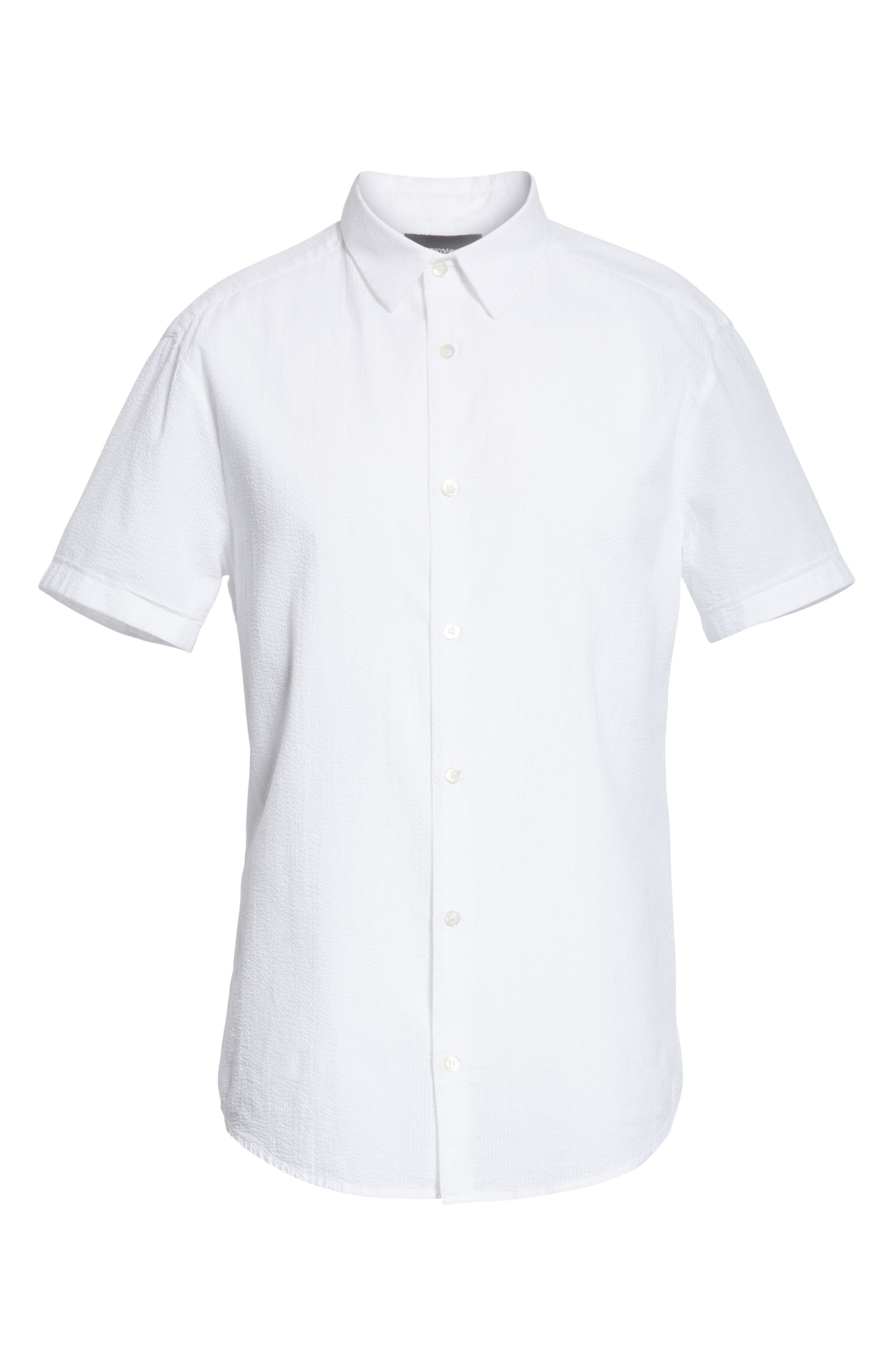 Regular Fit Short Sleeve Sport Shirt,                             Alternate thumbnail 6, color,                             BIANCO OTTICO