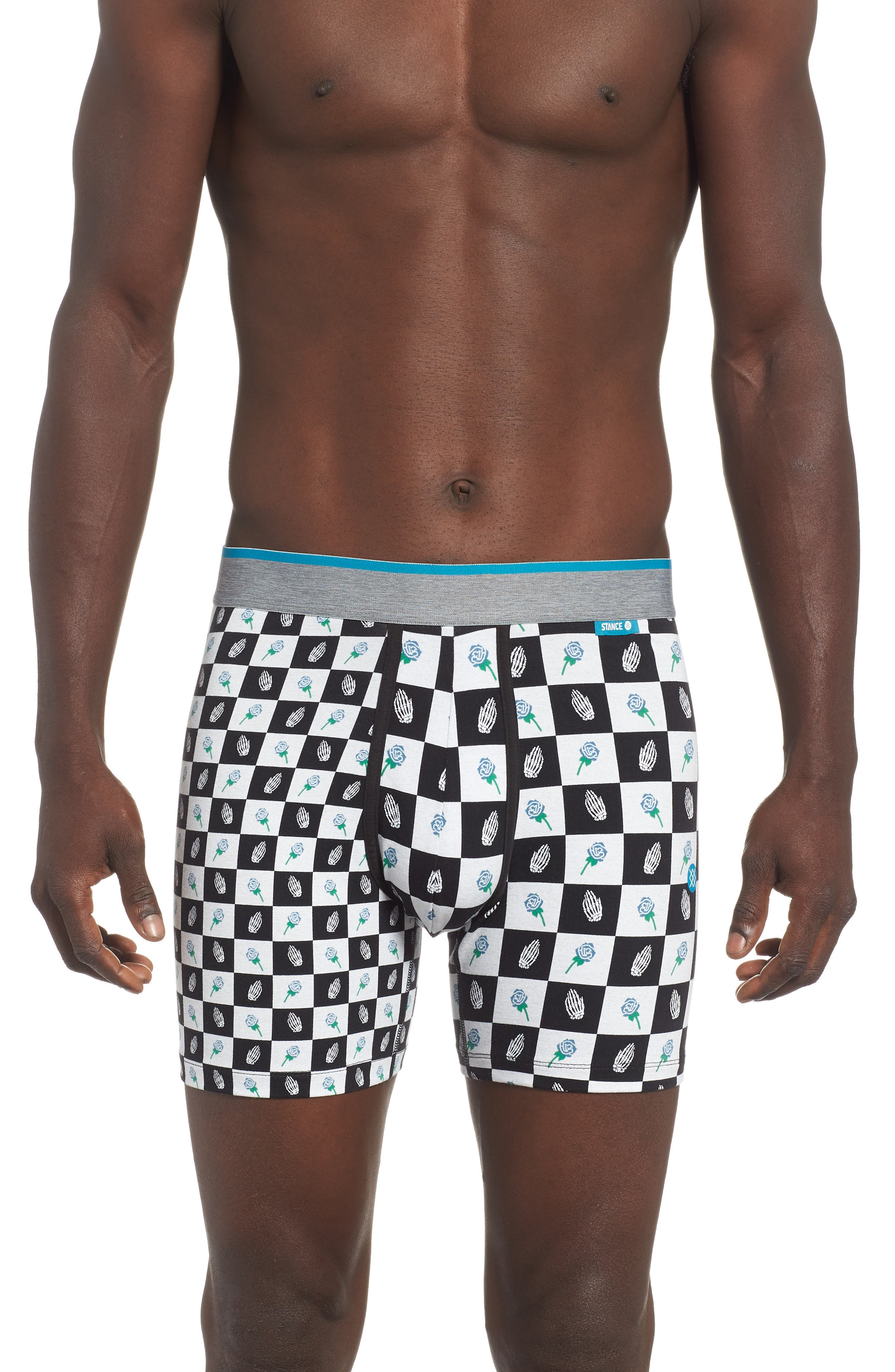 Pray Checks Boxer Briefs,                         Main,                         color, BLACK