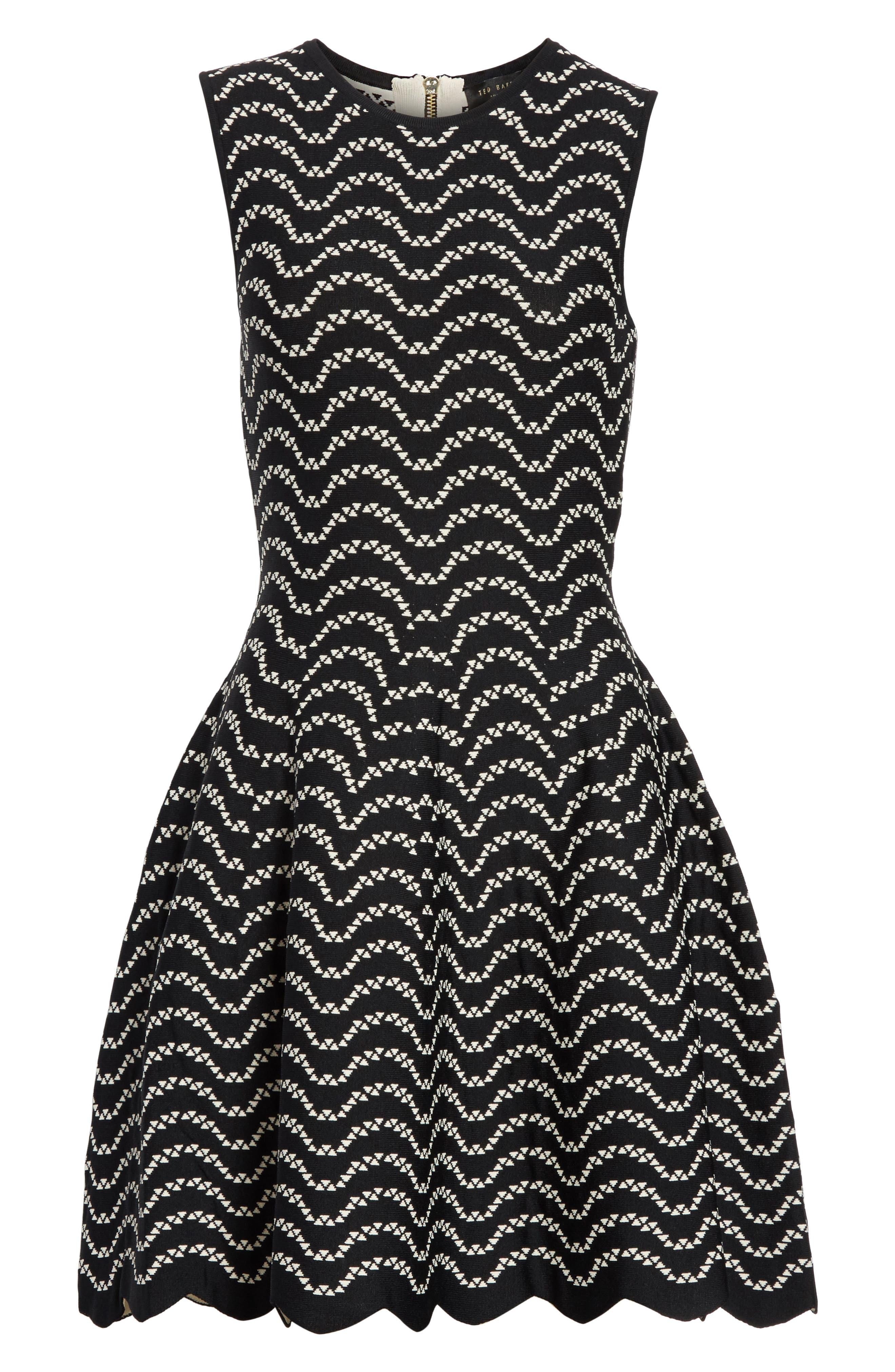 Bryena Jacquard Fit & Flare Dress,                             Alternate thumbnail 6, color,                             001