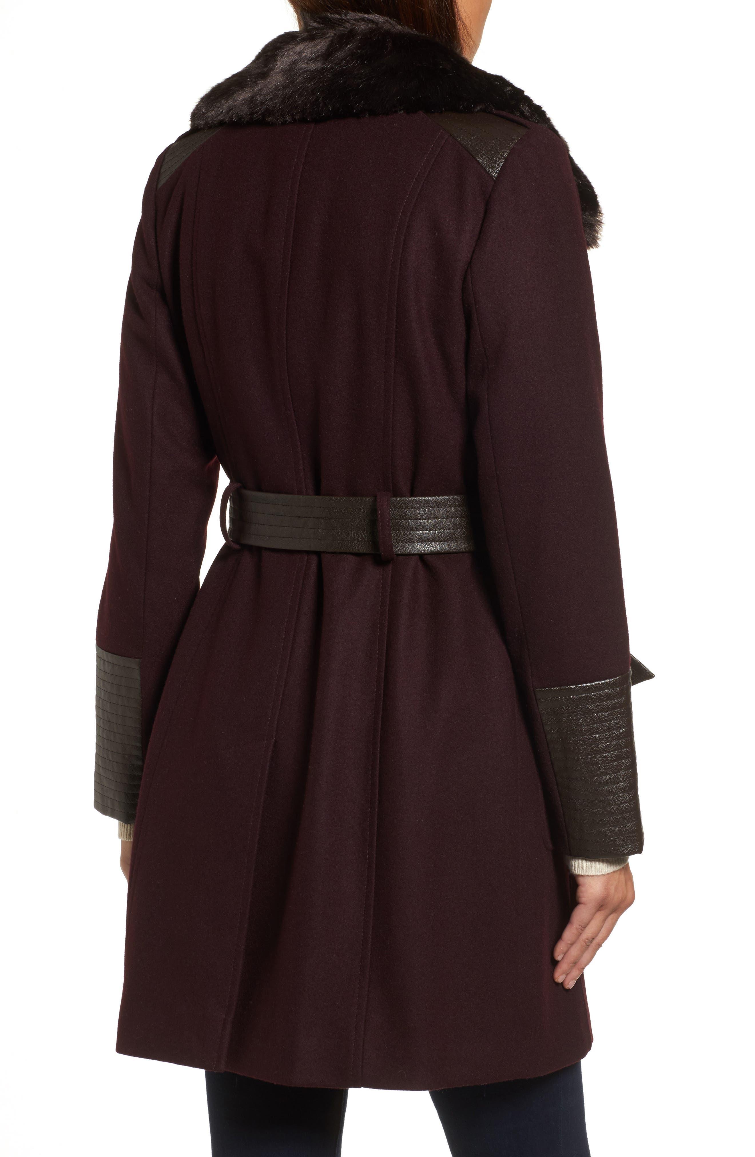 Faux Leather & Faux Fur Trim Belted Wool Blend Coat,                             Alternate thumbnail 11, color,