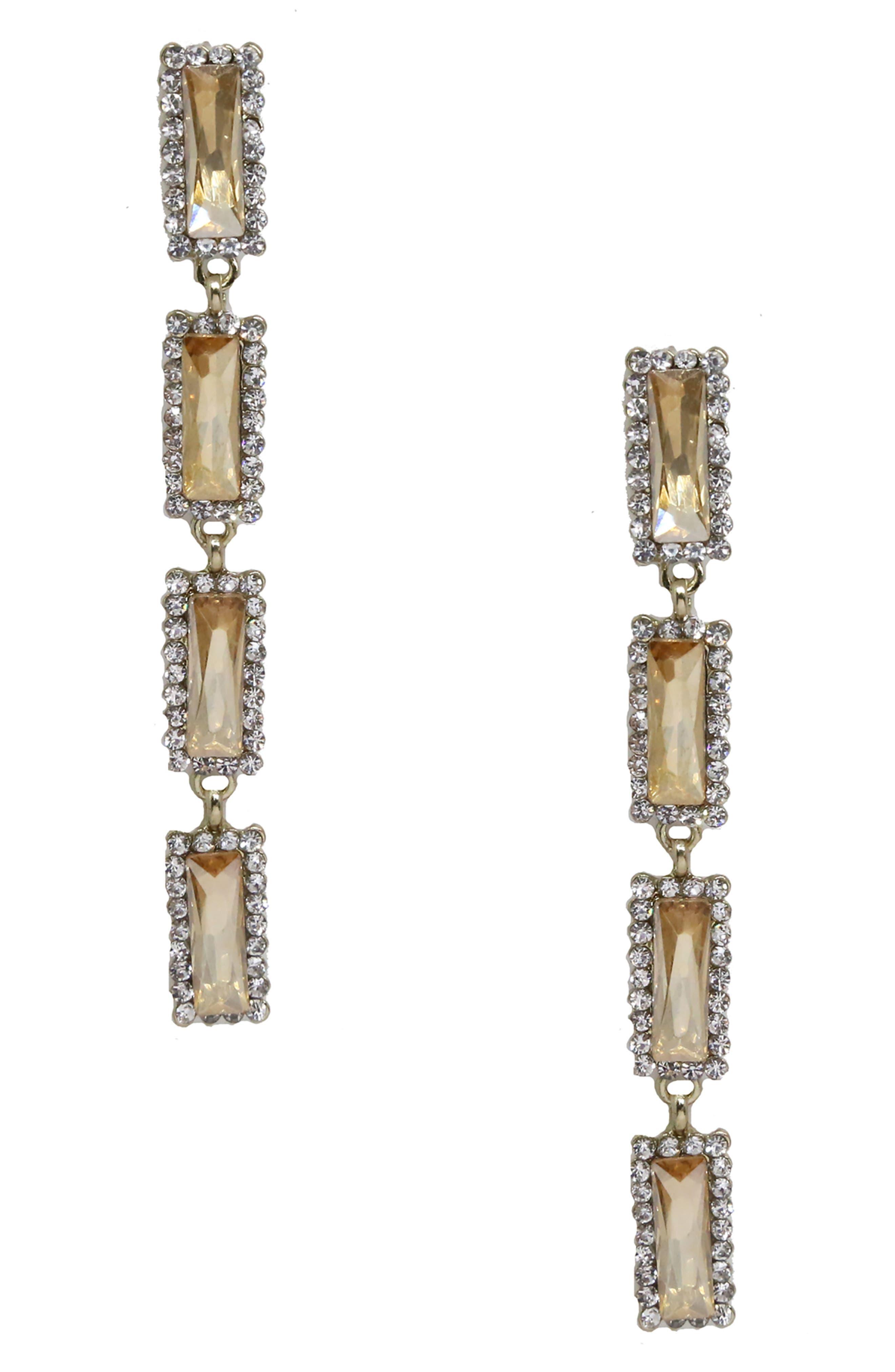 ETTIKA Crystal Drop Earrings in Gold