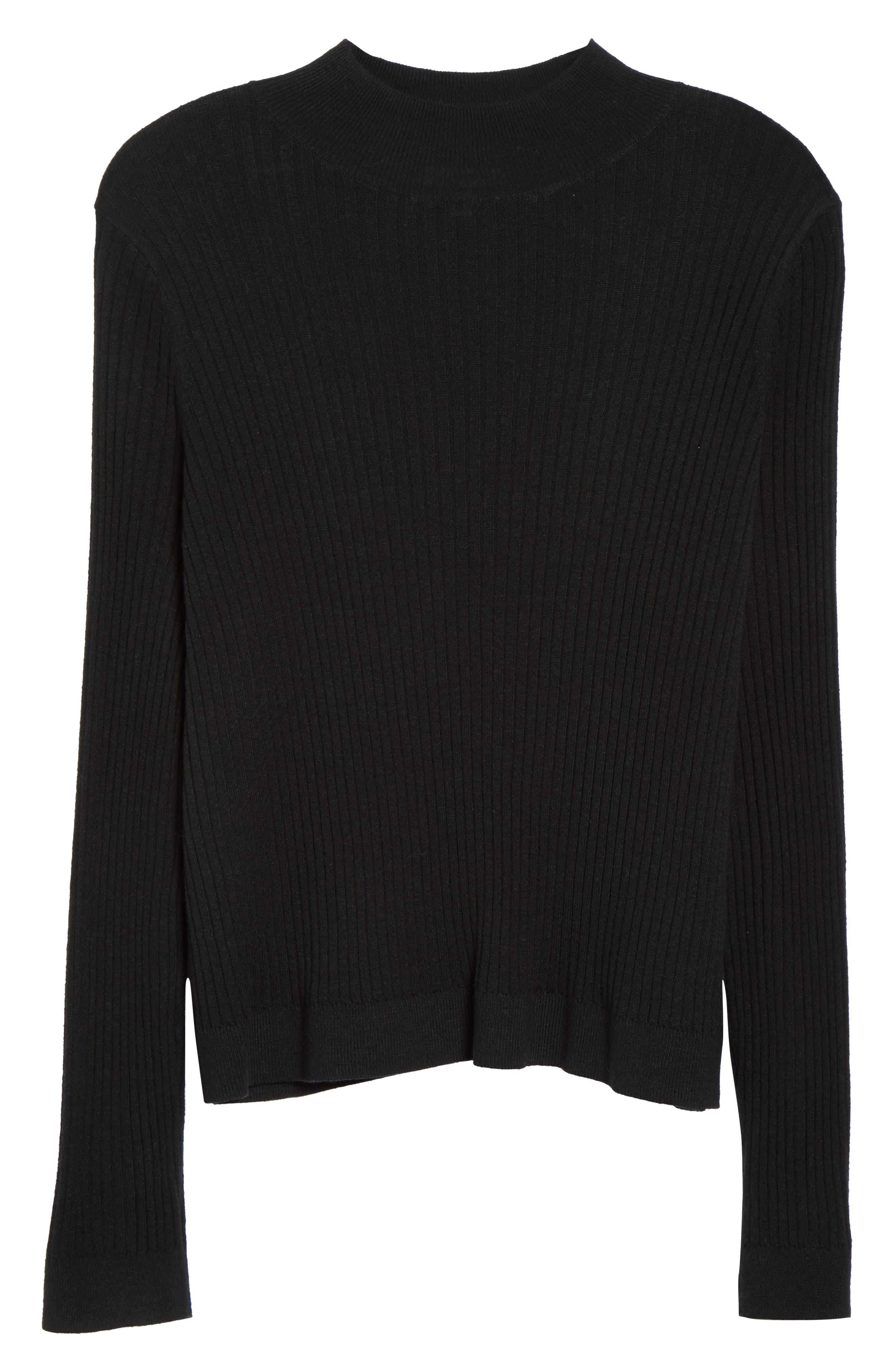 Rib Knit Mock Neck Sweater,                             Alternate thumbnail 6, color,                             BLACK