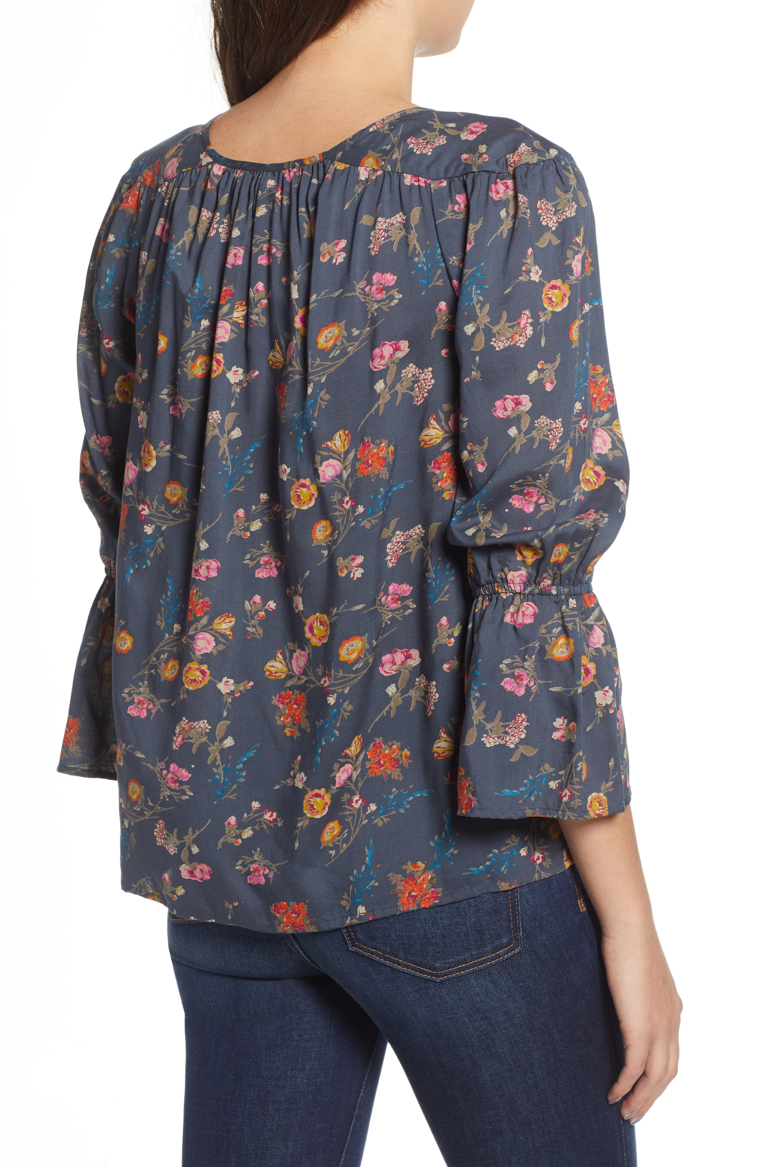 Floral Bell Sleeve Peasant Blouse,                             Alternate thumbnail 2, color,                             440