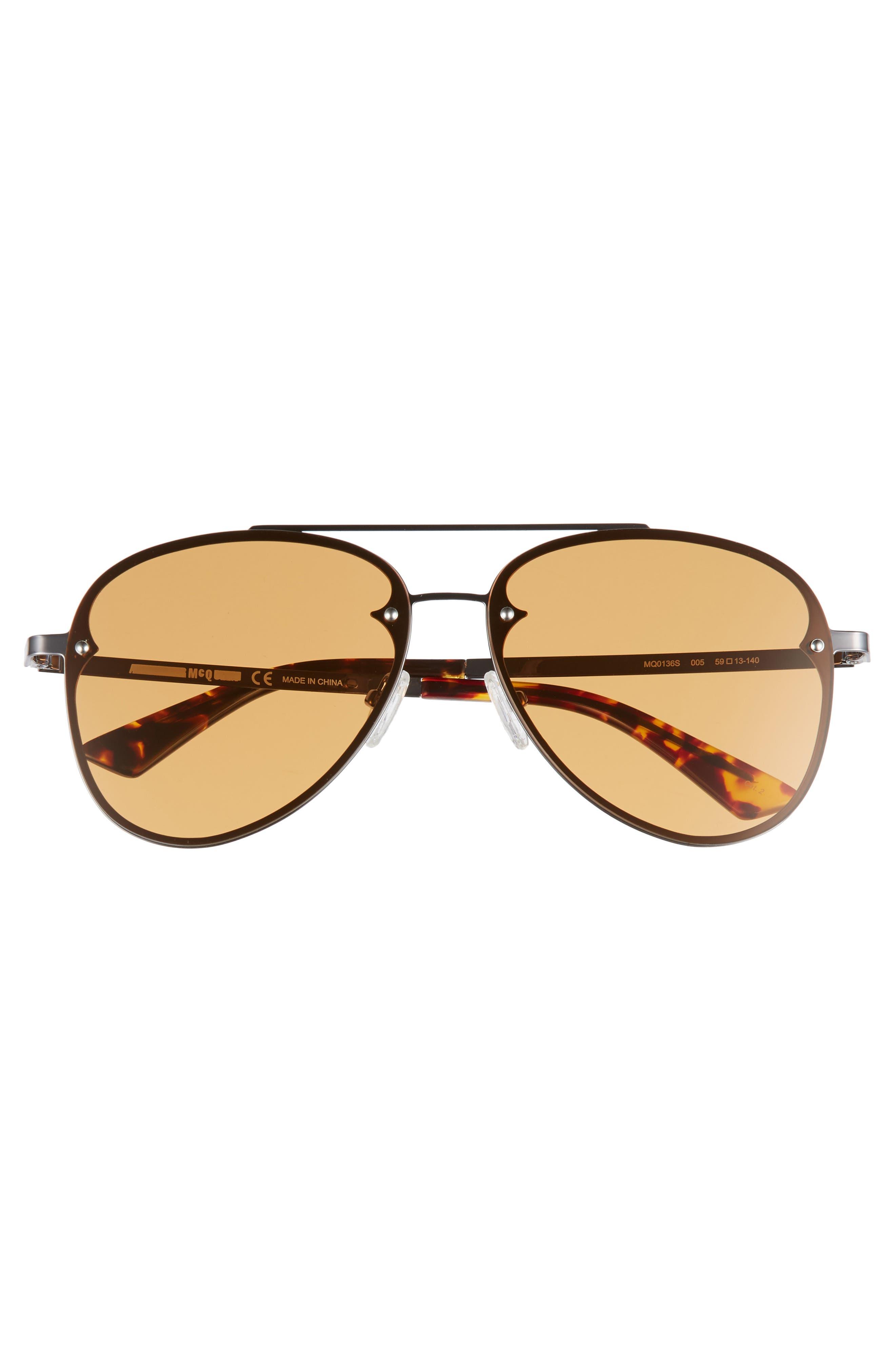 59mm Aviator Sunglasses,                             Alternate thumbnail 3, color,                             RUTHENIUM