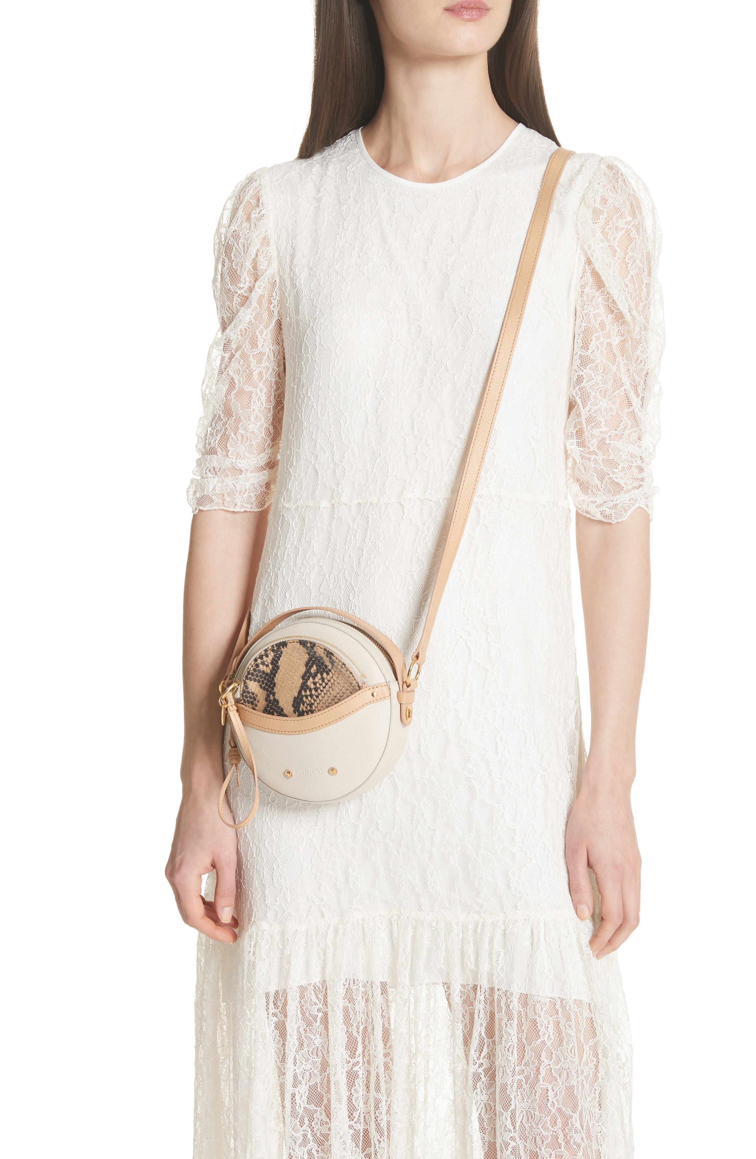 Rosy Mini Leather Crossbody Bag with Faux Snakeskin,                             Alternate thumbnail 2, color,                             CEMENT BEIGE