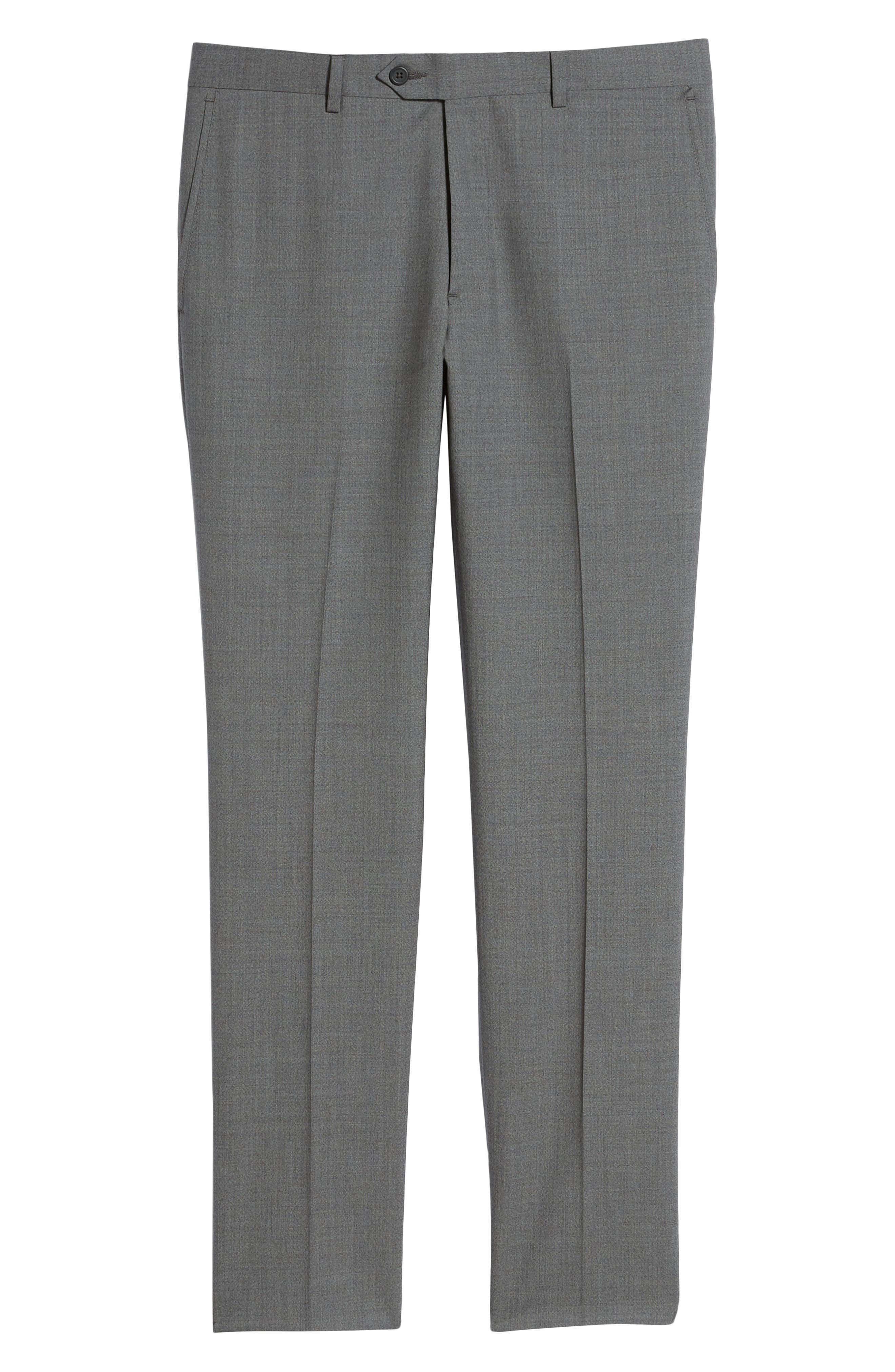 Trim Fit Flat Front Wool Trousers,                             Alternate thumbnail 6, color,                             GREY