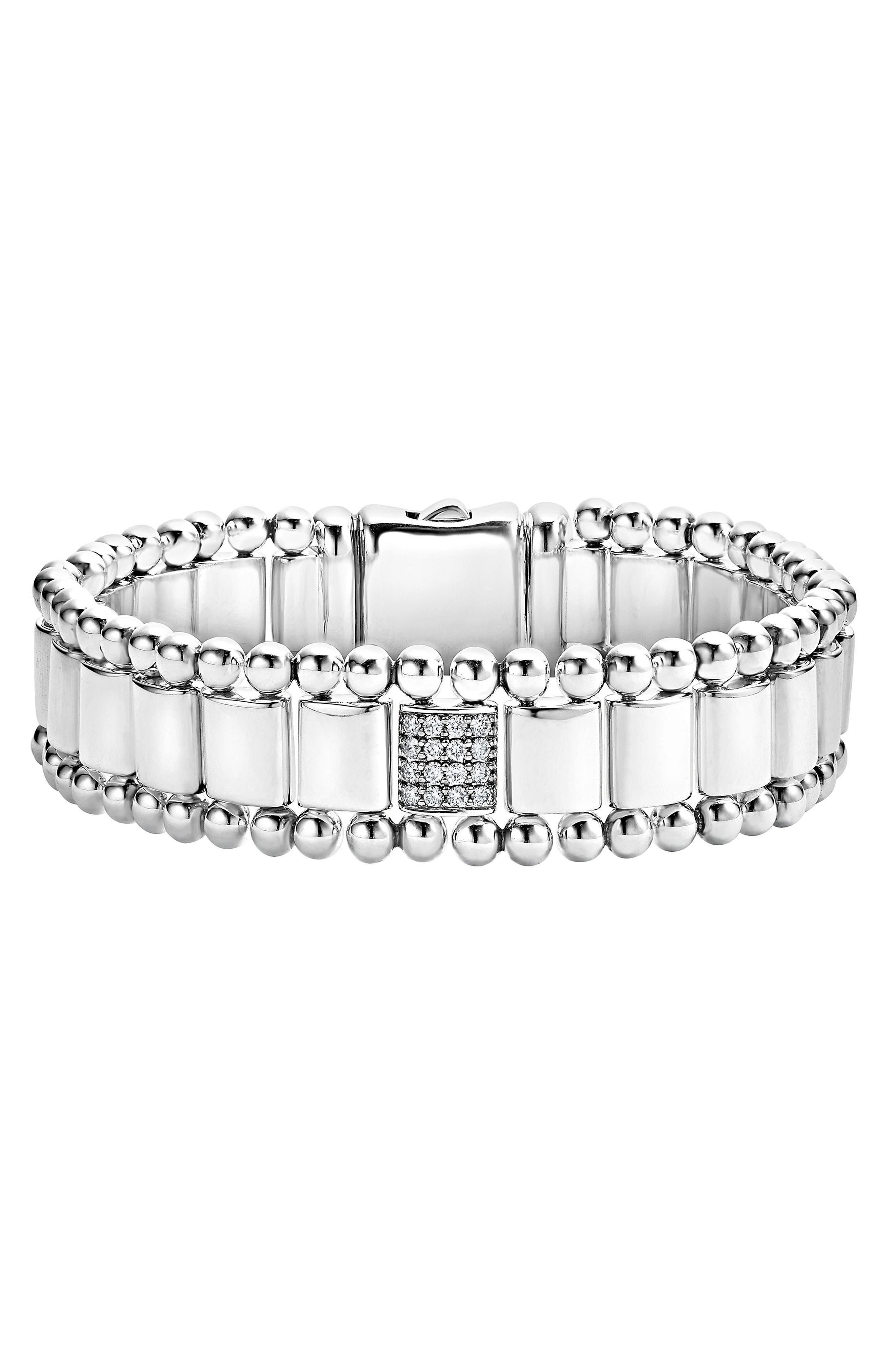 Caviar Spark Pavé Diamond Link Bracelet,                         Main,                         color, SILVER/ DIAMOND