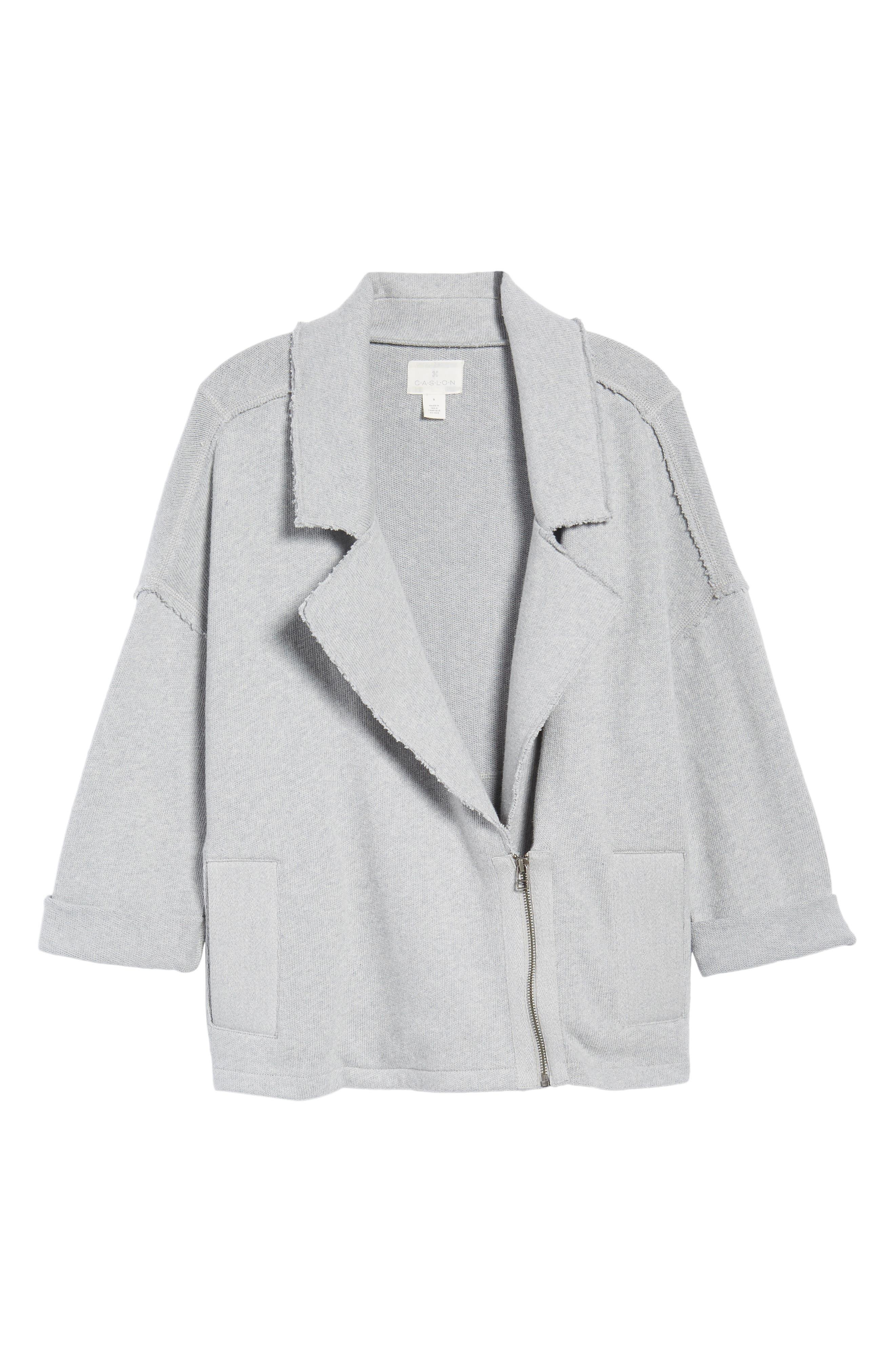 Knit Moto Jacket,                             Alternate thumbnail 5, color,                             030