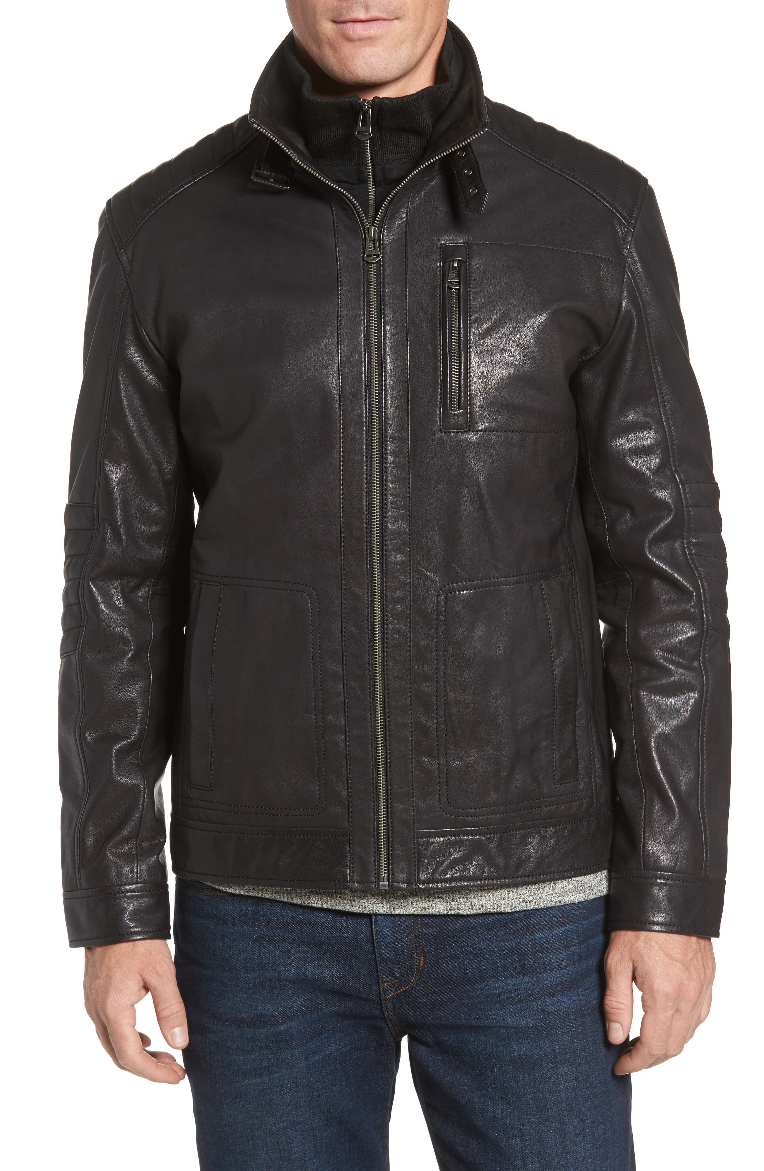 COLE HAAN,                             Washed Leather Moto Jacket with Knit Bib,                             Alternate thumbnail 4, color,                             001