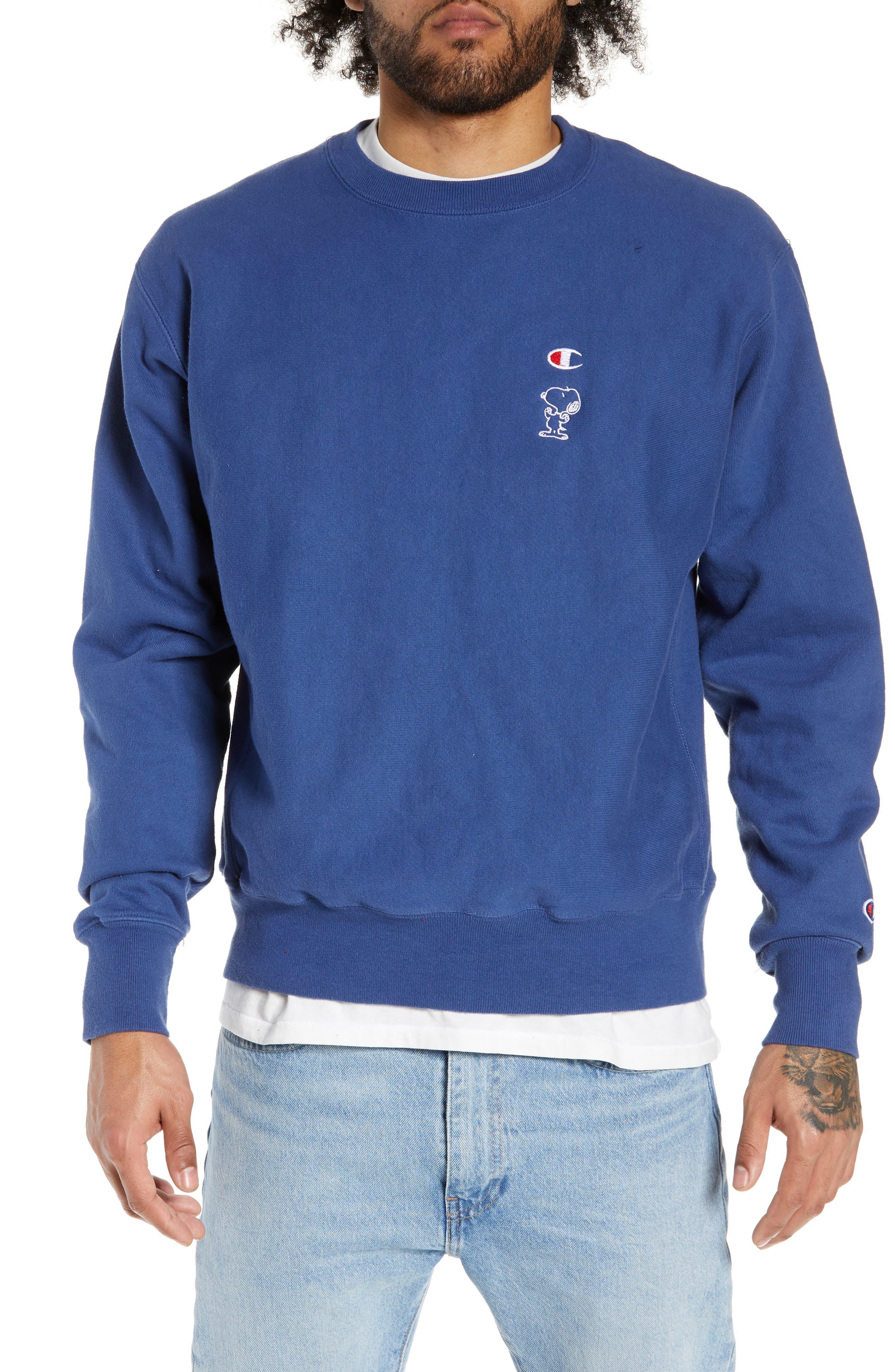 Reverse Weave<sup>®</sup> Snoopy Sweatshirt,                             Main thumbnail 1, color,                             DUTCH BLUE