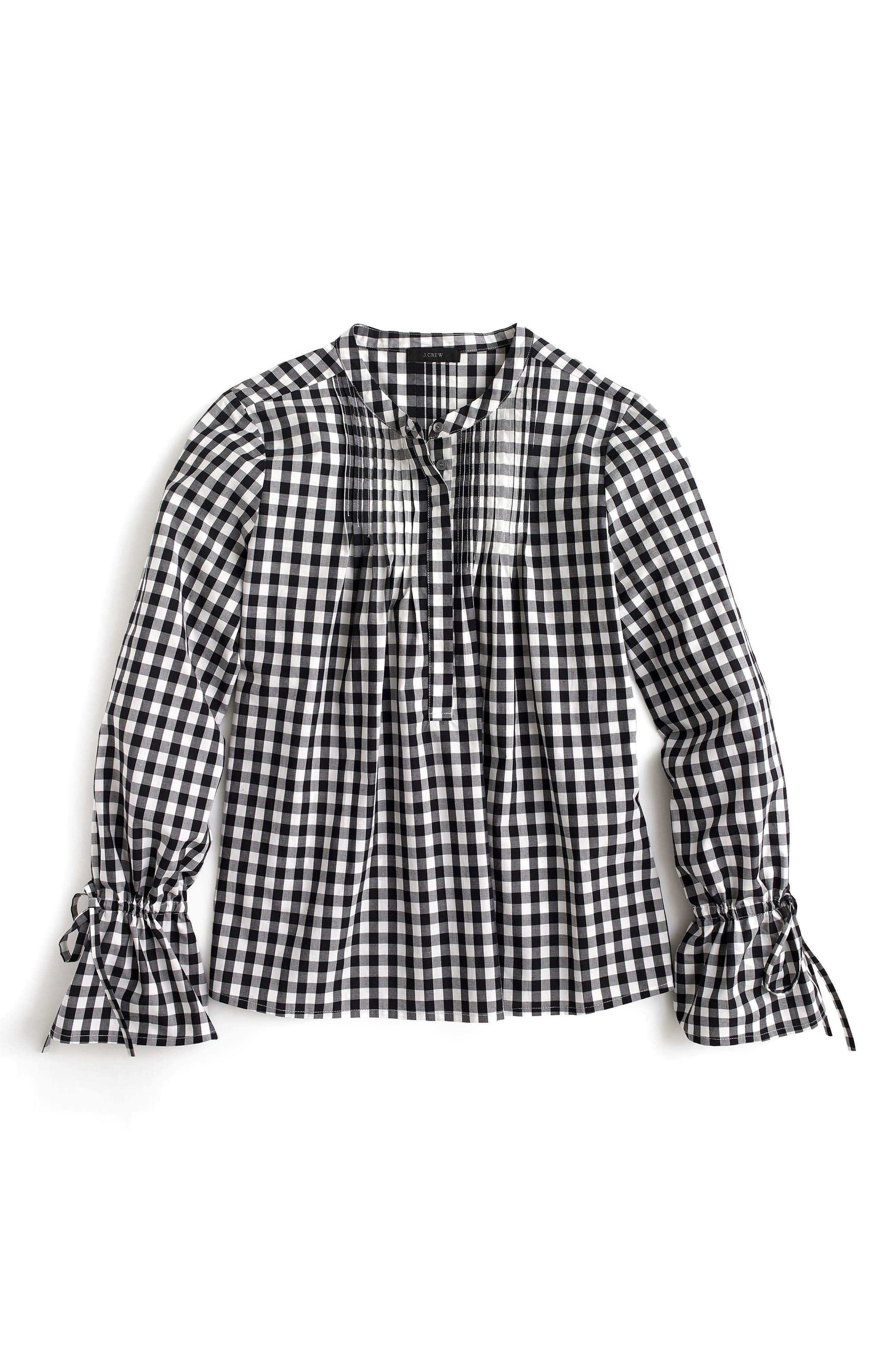 Tie Sleeve Gingham Top with Pintucks,                             Main thumbnail 1, color,                             001