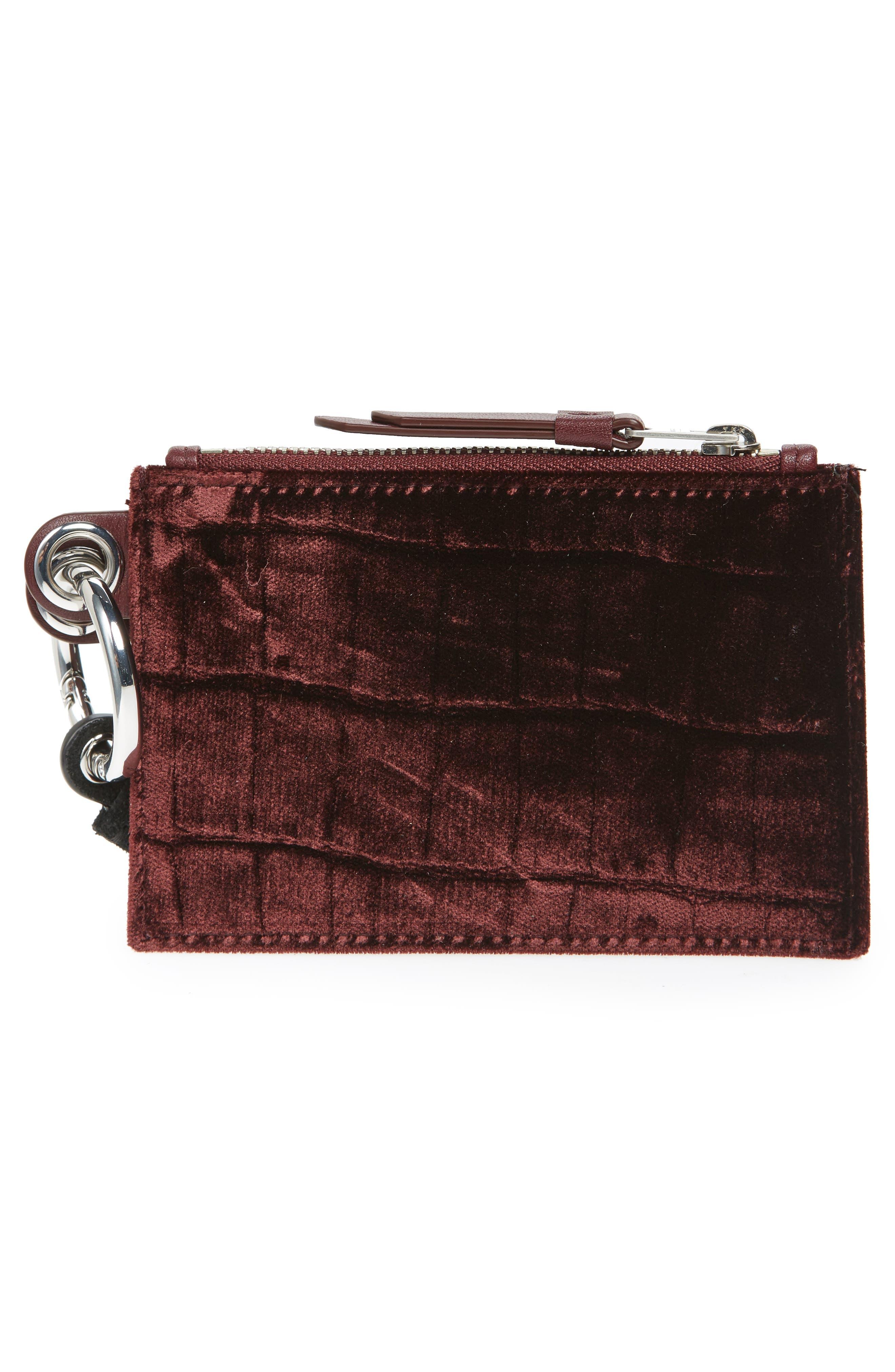 Dive Key Fob Leather & Suede Zip Pouch & Card Case,                             Alternate thumbnail 4, color,                             930