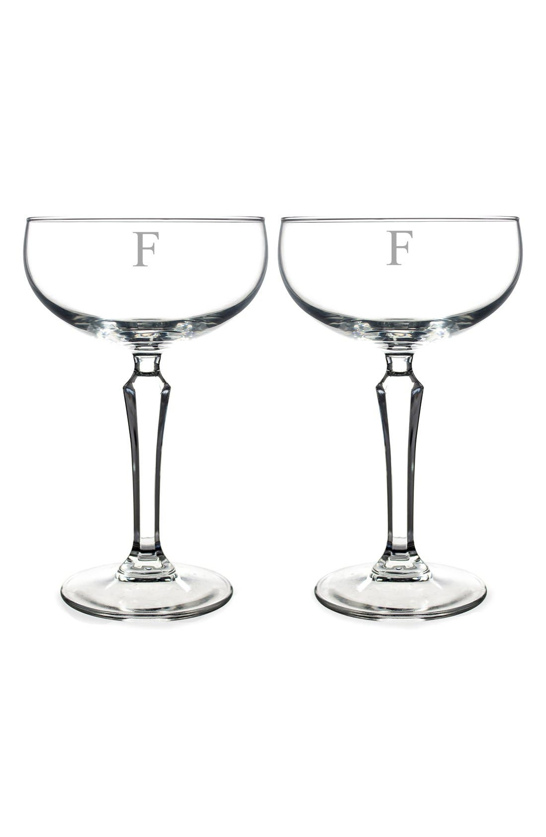 Monogram Coupe Cocktail/Champagne Glasses,                             Main thumbnail 8, color,