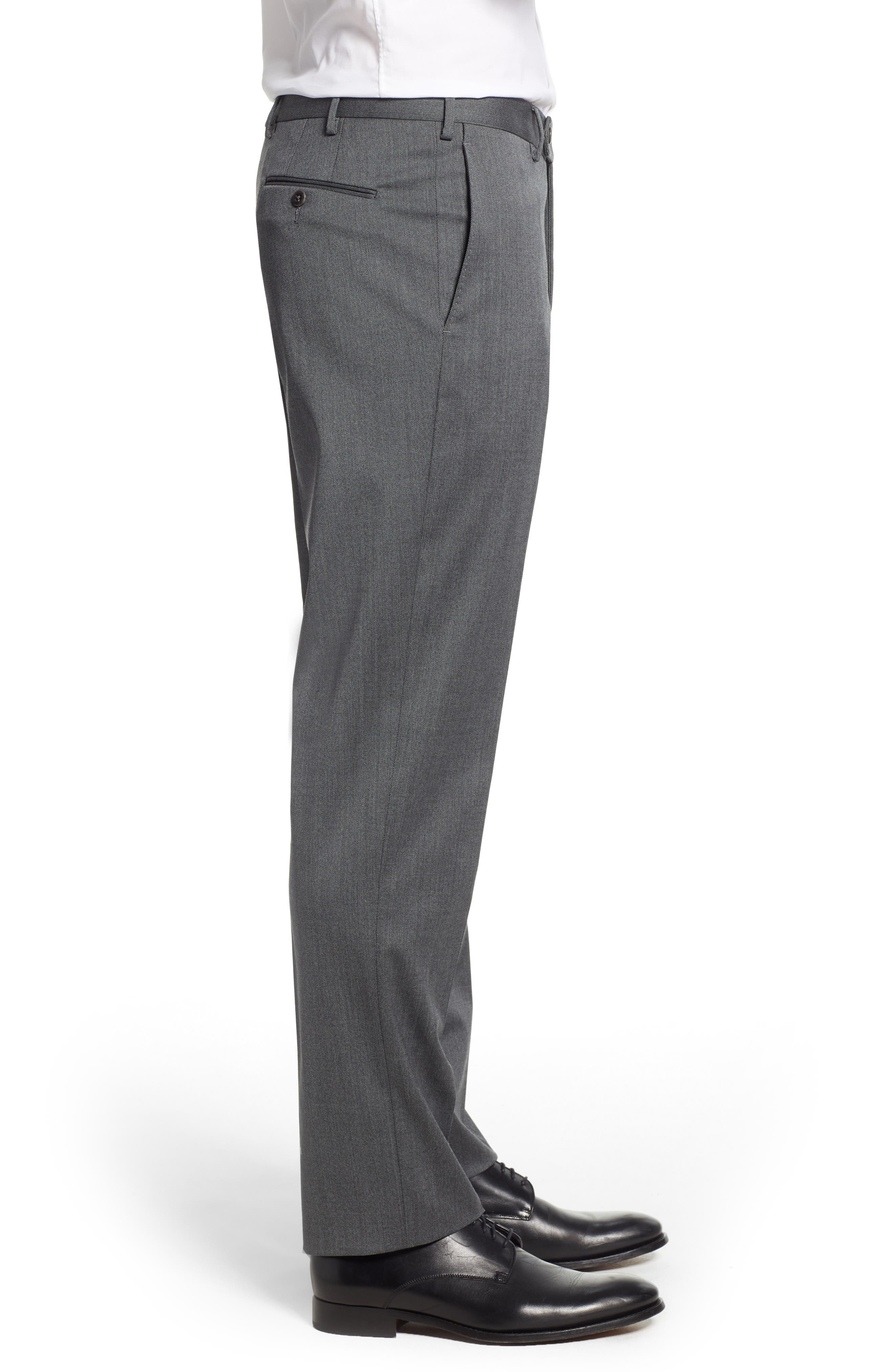 Parker Flat Front Stretch Twill Wool Trousers,                             Alternate thumbnail 3, color,                             GREY