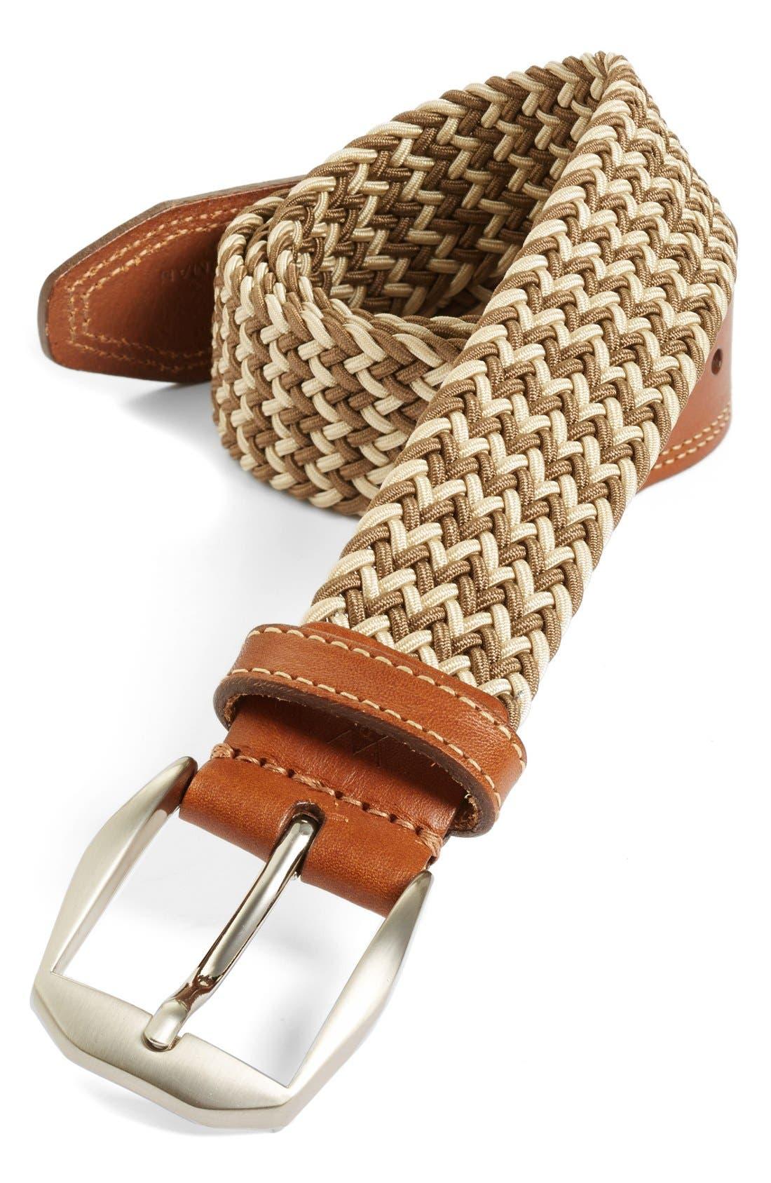 'Beck' Stretch Belt,                         Main,                         color, SAND/ WHITE