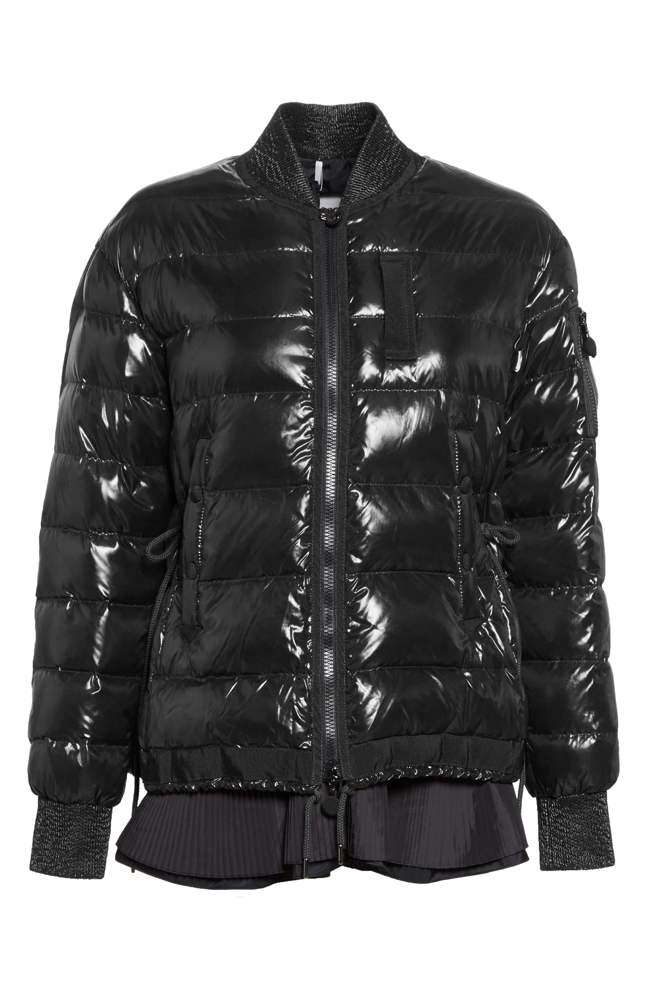 Lucy Peplum Down Puffer Jacket,                             Alternate thumbnail 5, color,                             001
