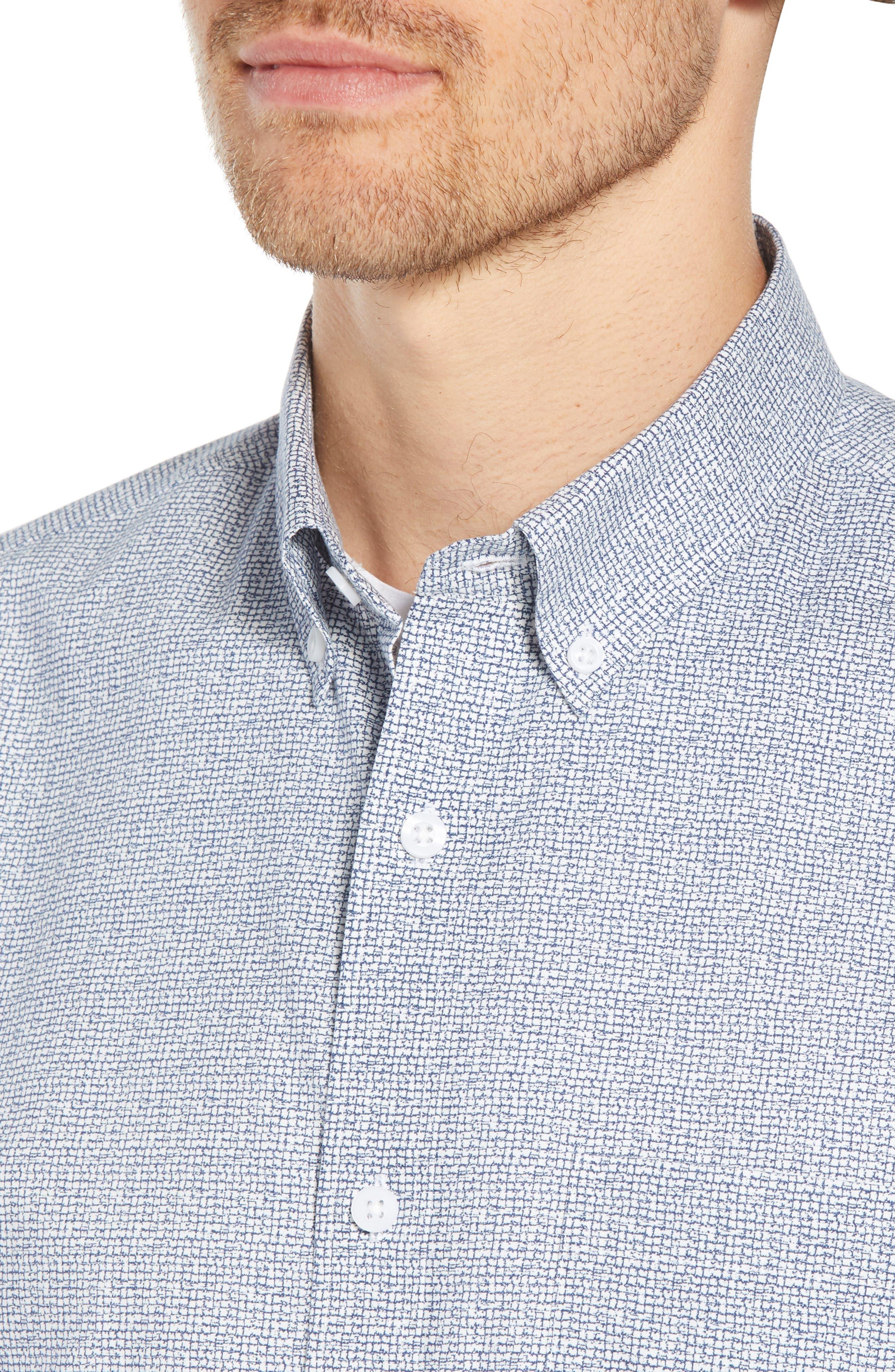 Ivy Trim Fit Print Sport Shirt,                             Alternate thumbnail 4, color,                             NAVY IRIS TEXTURED GRID