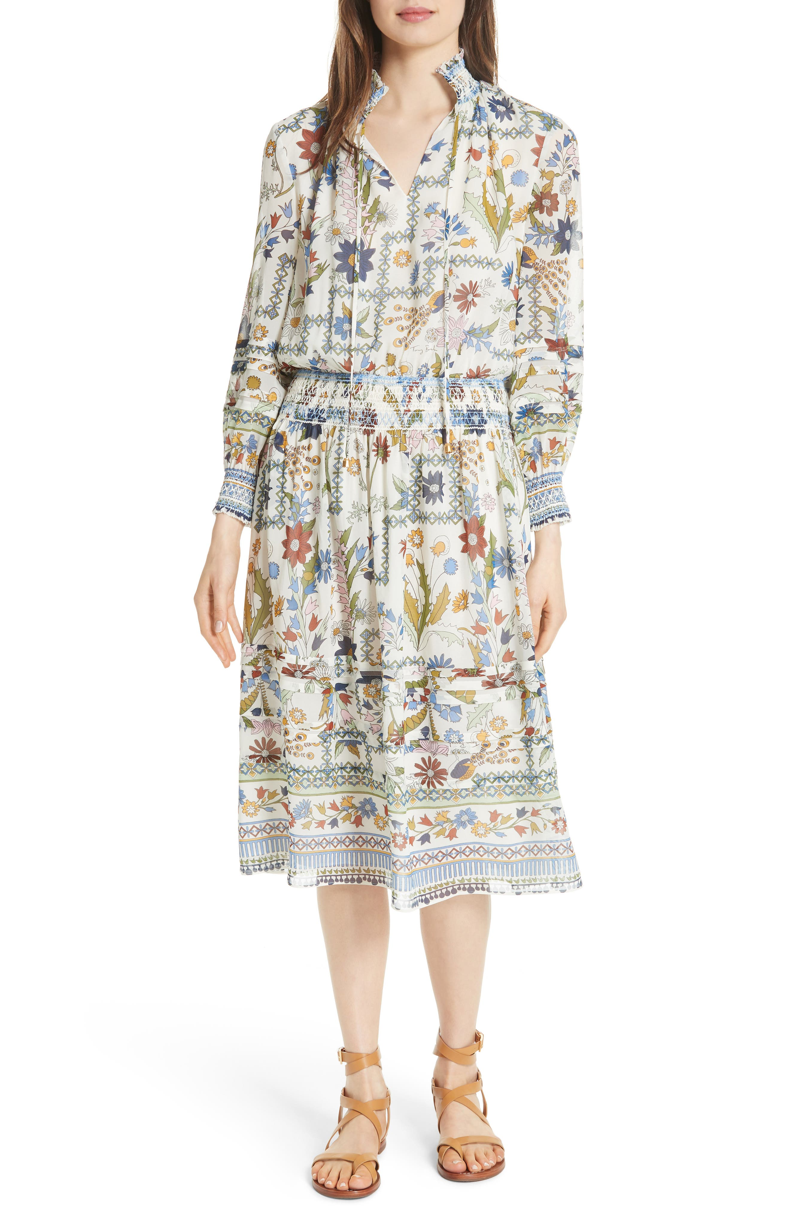 Waverly Floral Print Silk Midi Dress,                             Main thumbnail 1, color,                             902