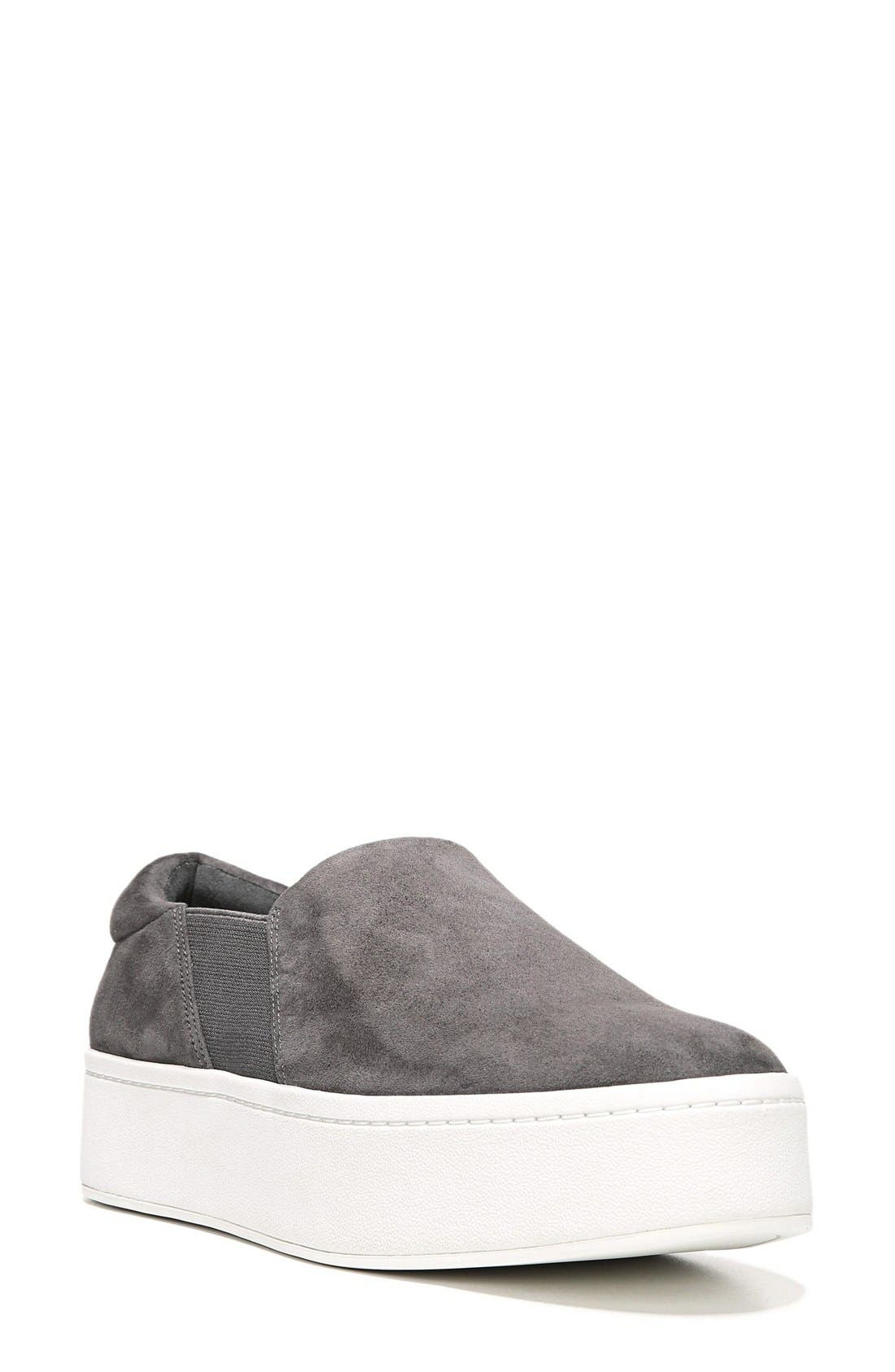 Women'S Warren Suede Platform Slip-On Sneakers in Steel Suede