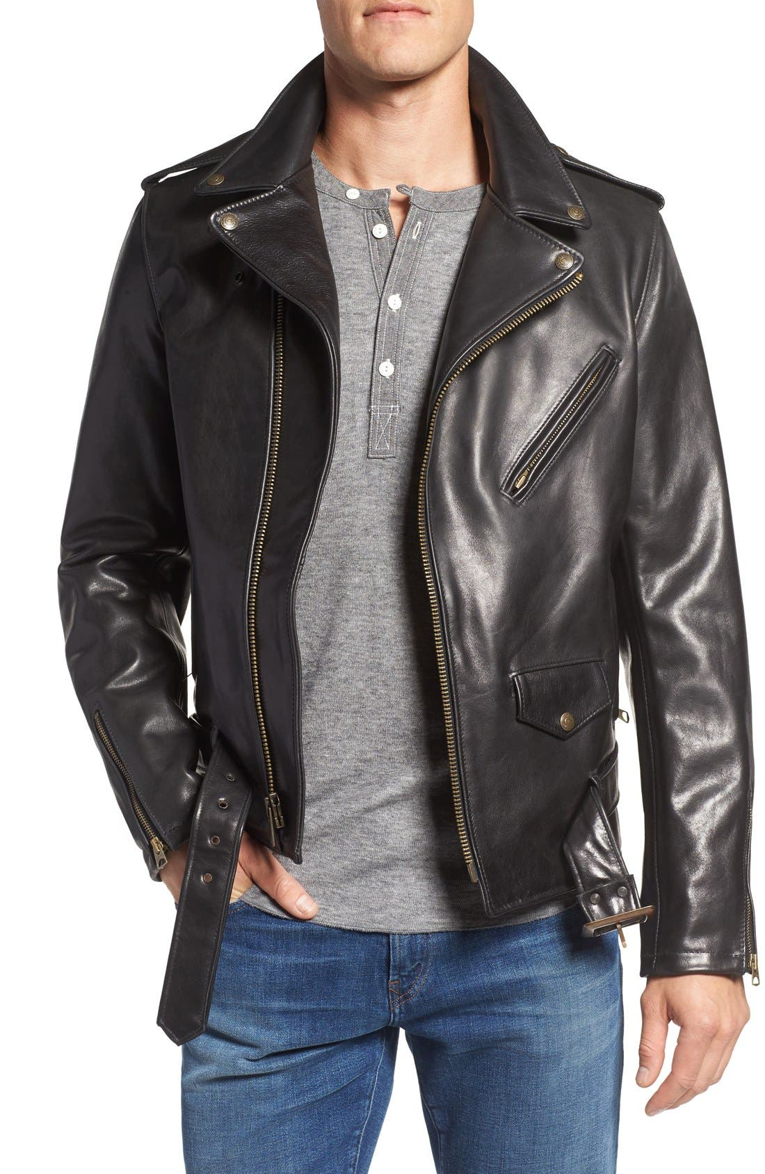 Waxy Leather Moto Jacket,                             Main thumbnail 1, color,                             BLACK