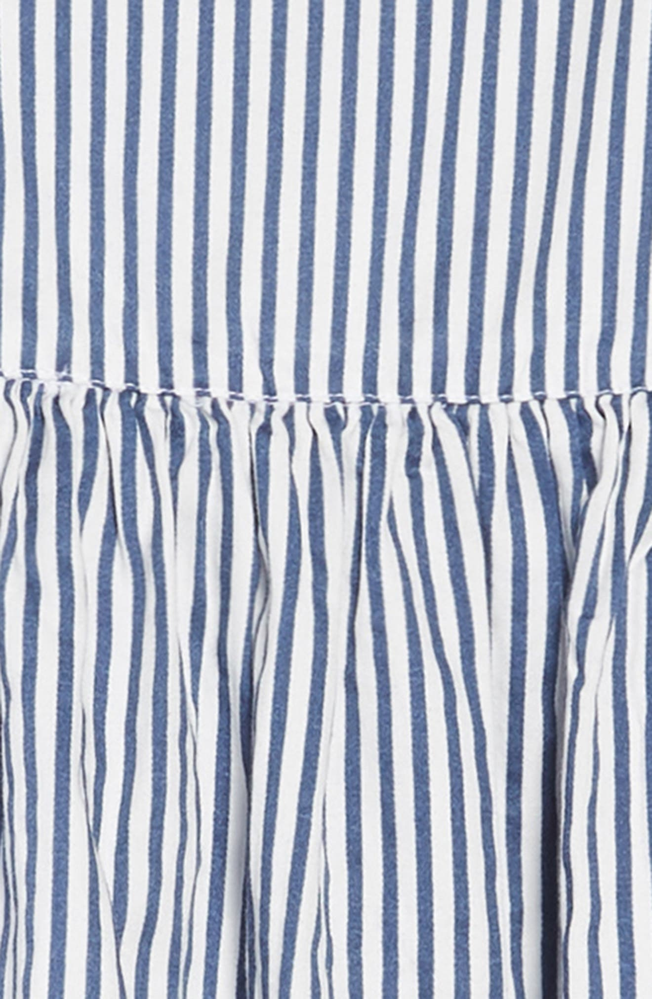 Woven Stripe Dress,                             Alternate thumbnail 3, color,                             WHITE- NAVY STRIPE