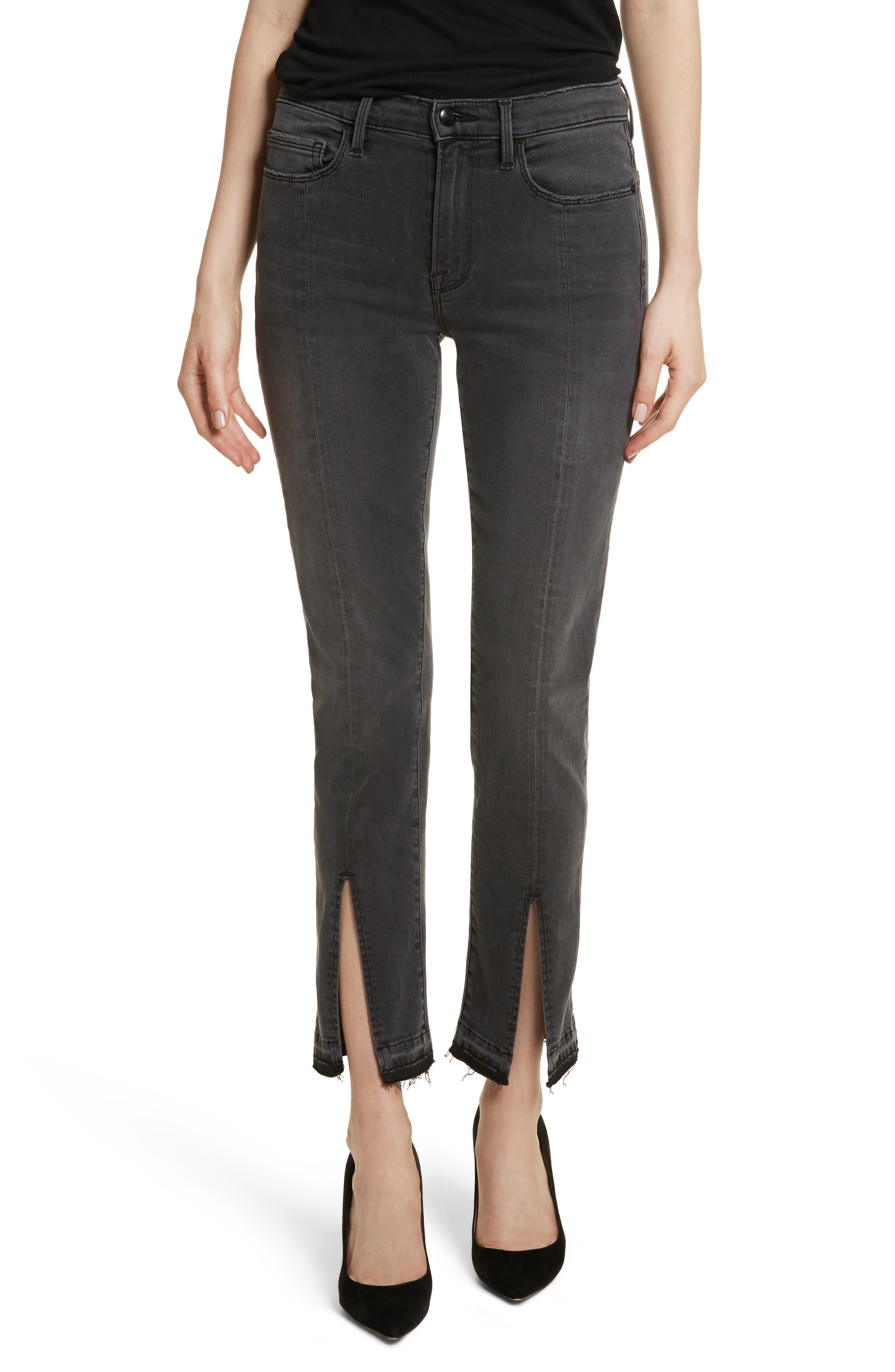 Le Nouveau Straight Split Hem Skinny Jeans,                             Main thumbnail 1, color,                             020