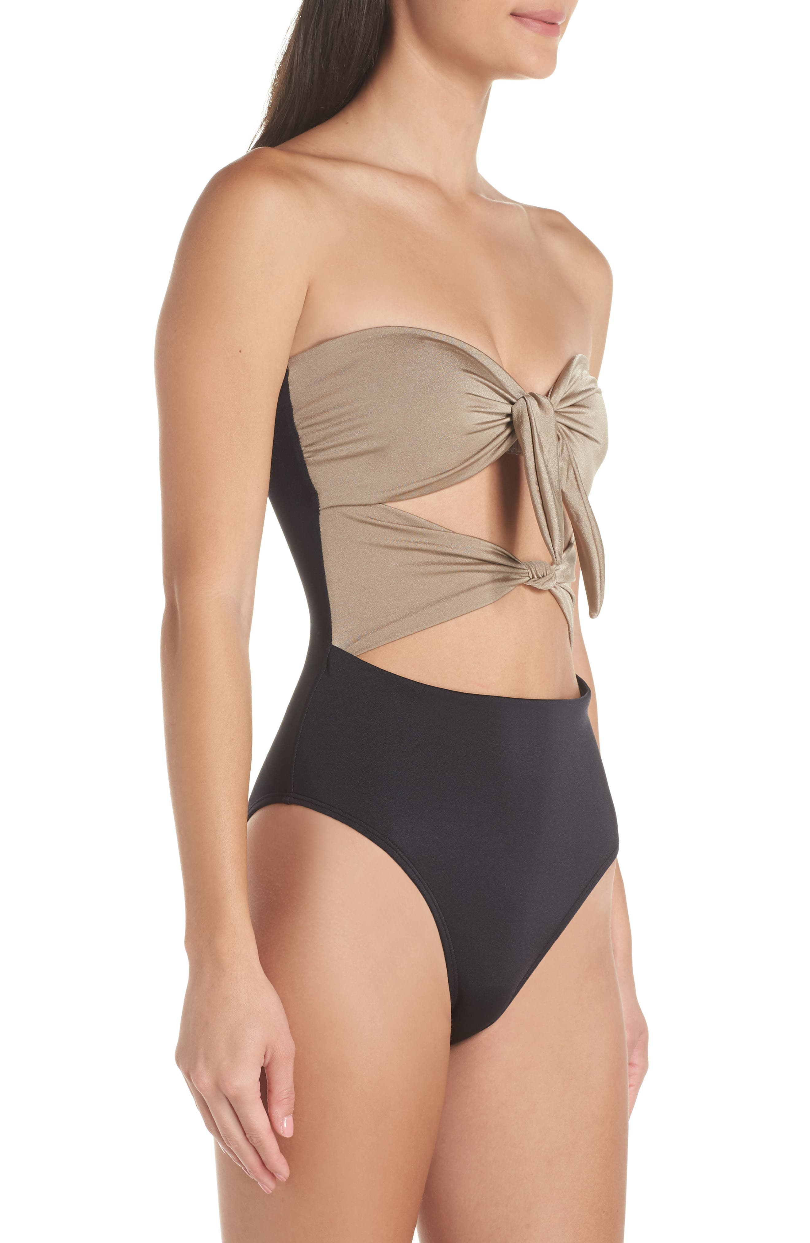 Glam Nights One-Piece Swimsuit,                             Alternate thumbnail 4, color,                             TAN MINK/ BLACK