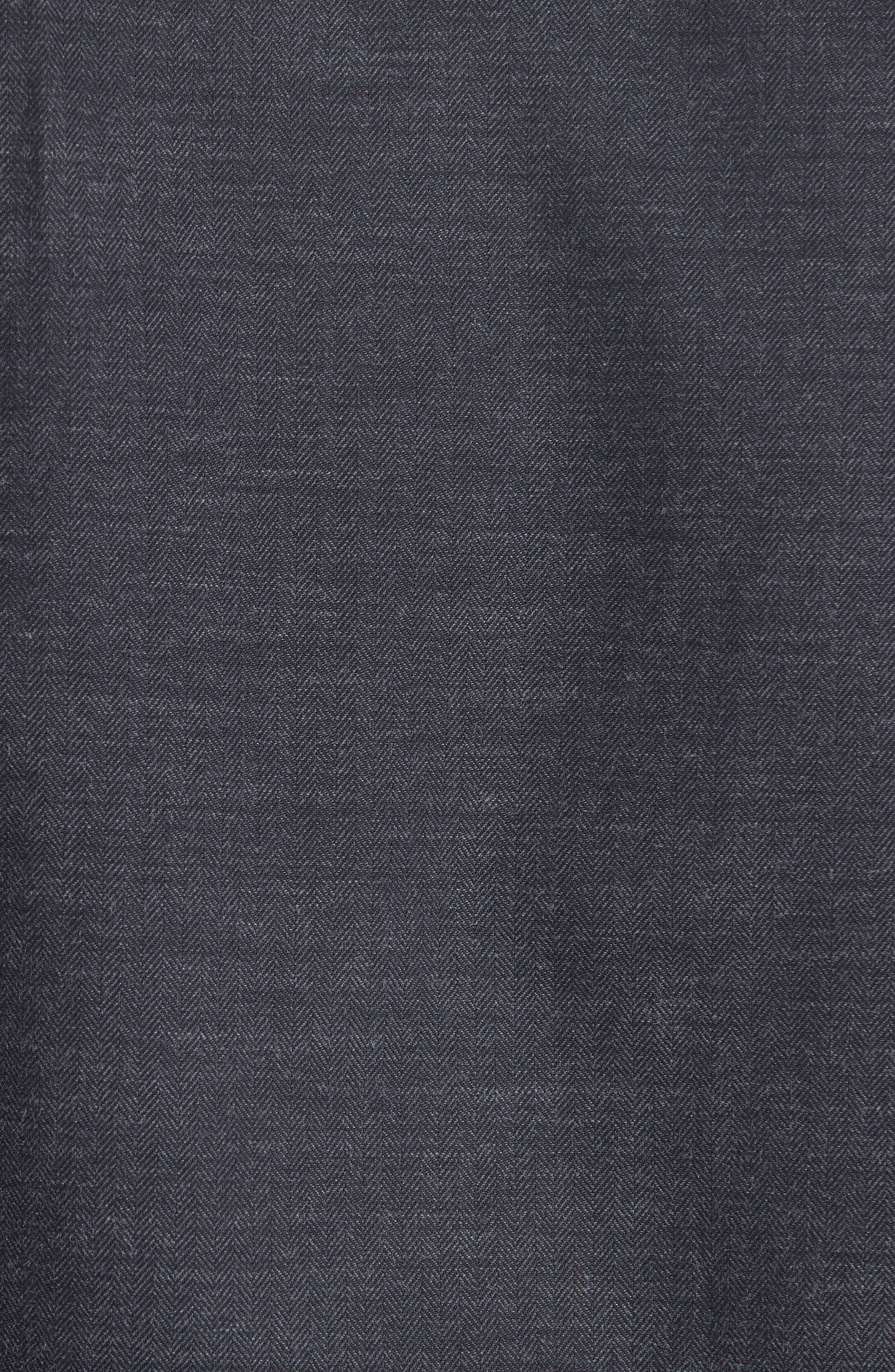 Classic Fit Herringbone Sport Shirt,                             Alternate thumbnail 5, color,                             CHARCOAL