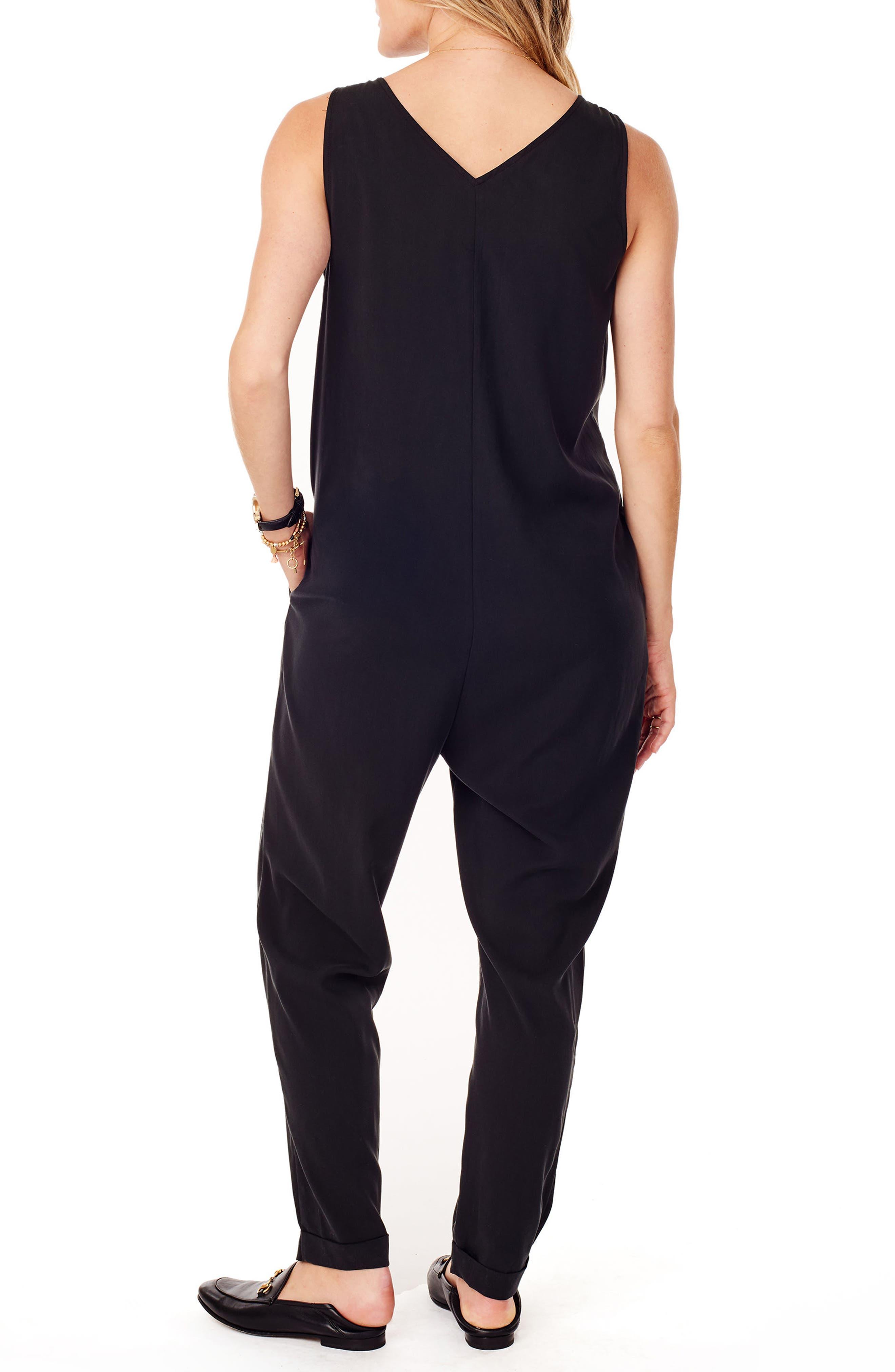 Zip Front Maternity/Nursing Jumpsuit,                             Alternate thumbnail 2, color,                             JET BLACK