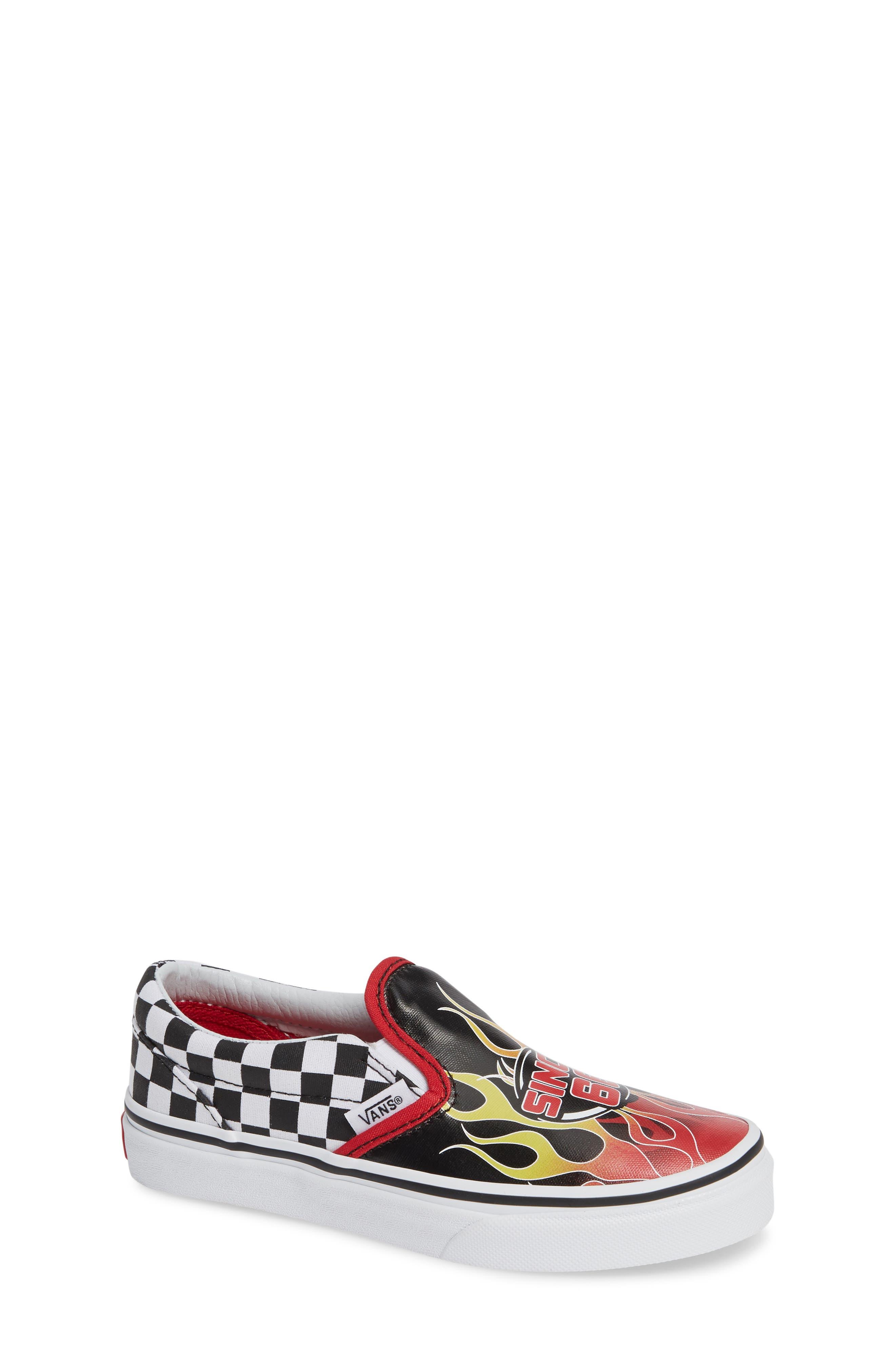 VANS,                             'Classic - Checker' Slip-On,                             Main thumbnail 1, color,                             BLACK/ RACING RED/ TRUE WHITE