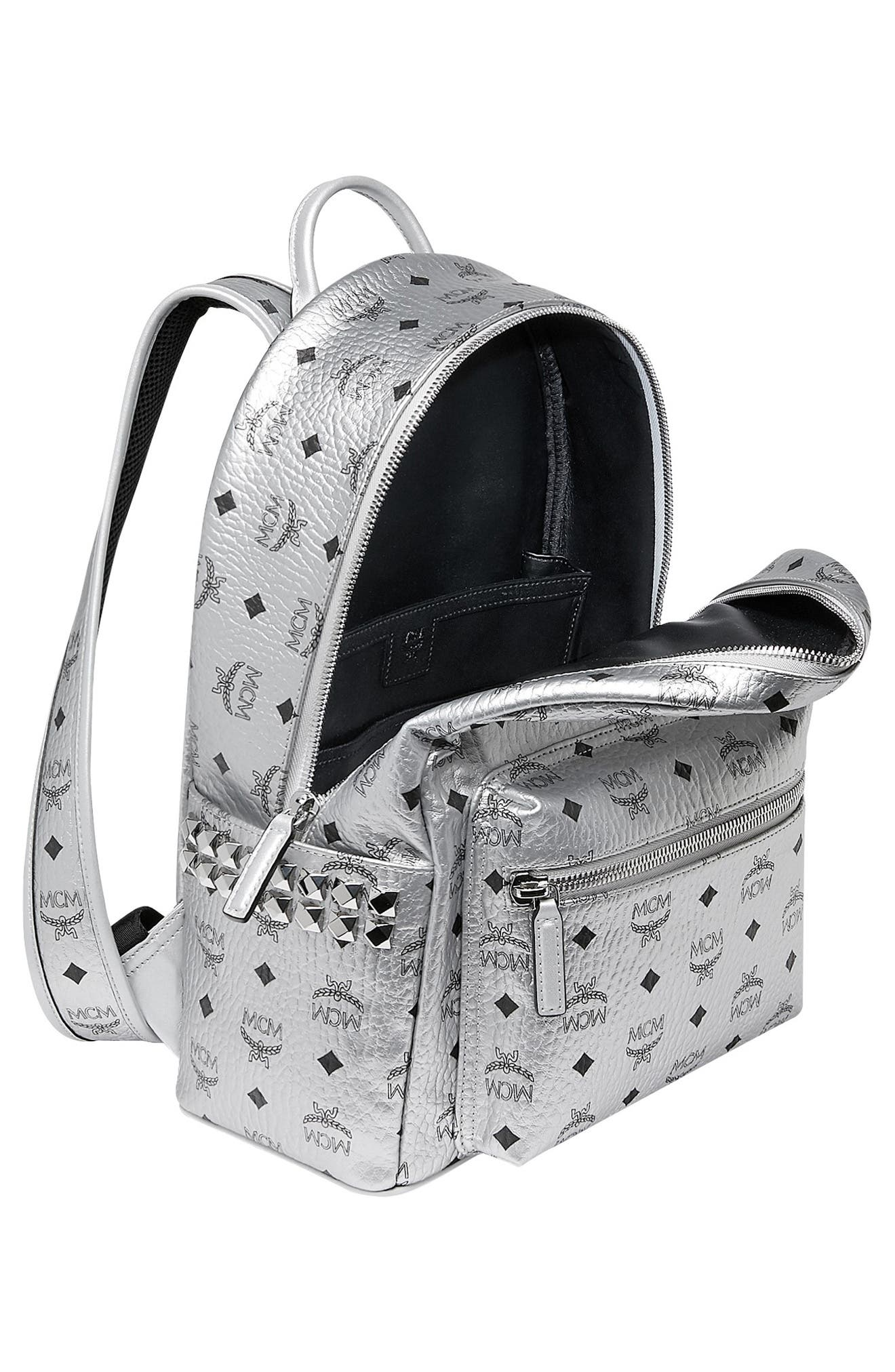 Small Stark Side Stud Metallic Faux Leather Backpack,                             Alternate thumbnail 3, color,                             BERLIN SILVER