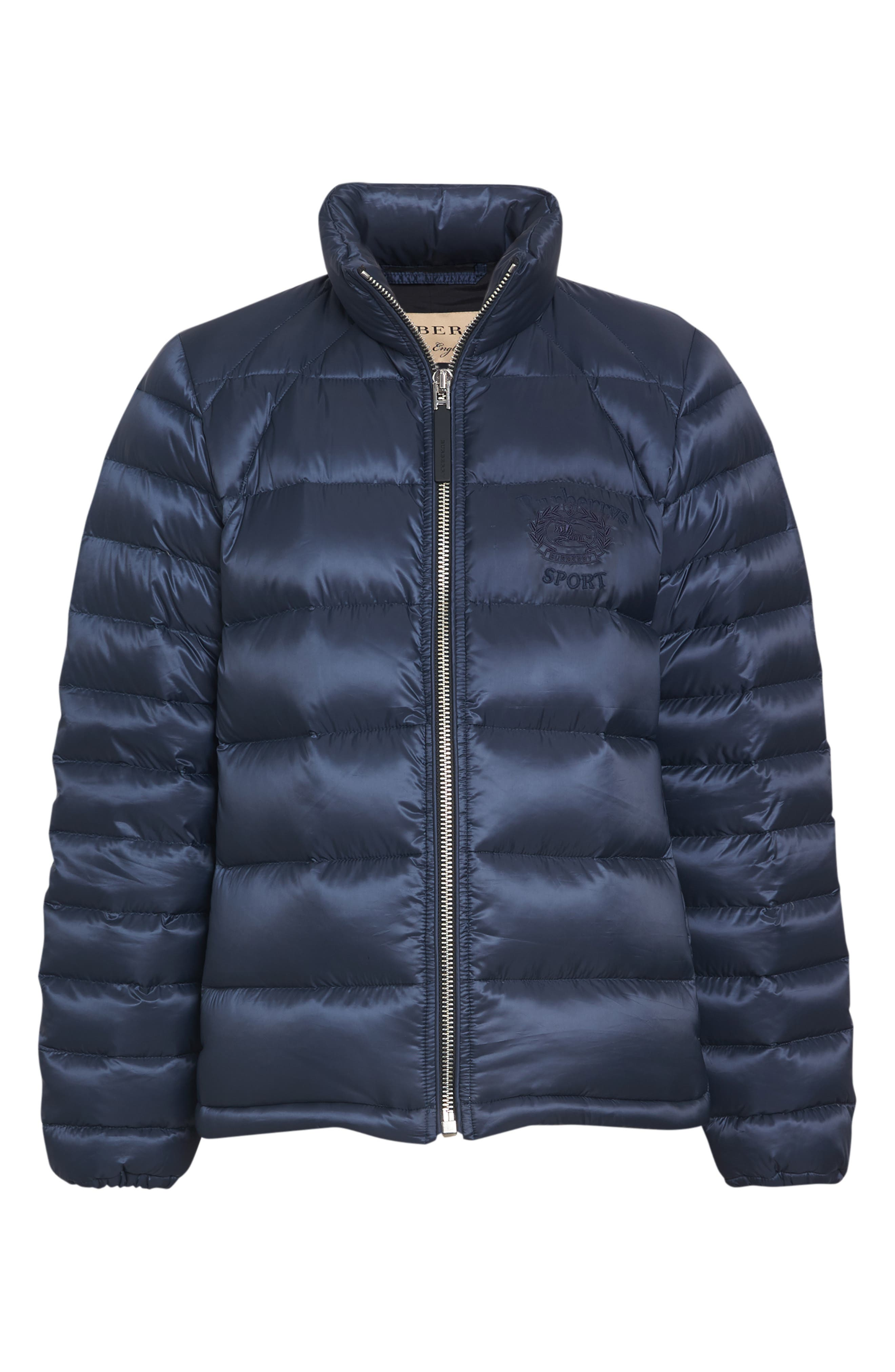 BURBERRY,                             Smethwick Archive Logo Quilted Down Puffer Coat,                             Alternate thumbnail 4, color,                             NAVY