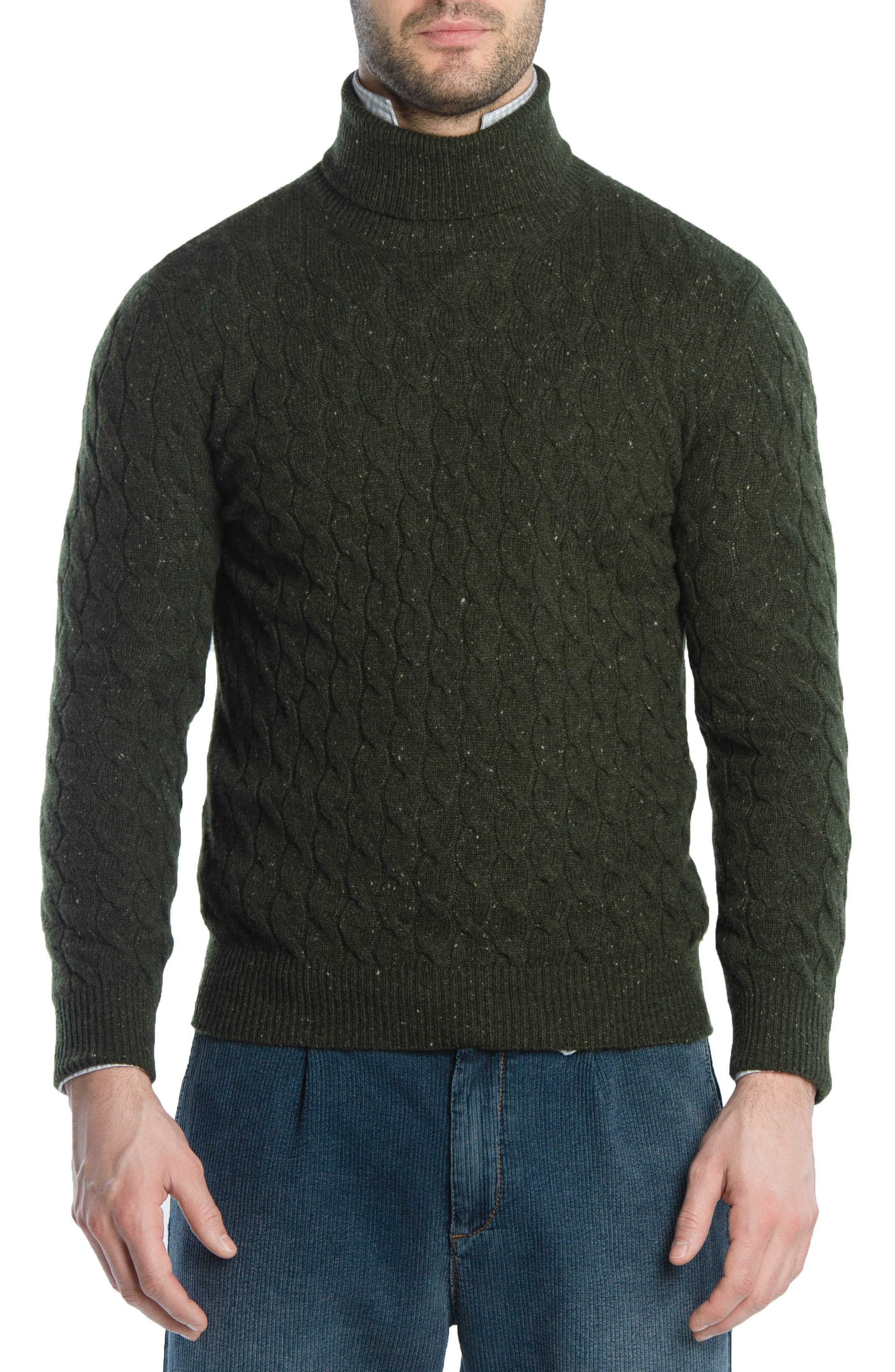Cableknit Turtleneck Cashmere Sweater,                         Main,                         color, GREEN