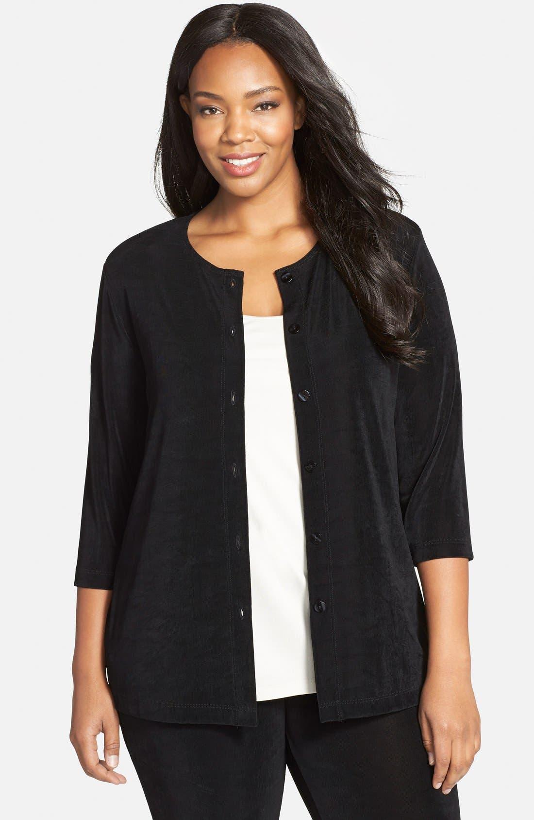 Three-Quarter Sleeve Cardigan,                         Main,                         color, BLACK
