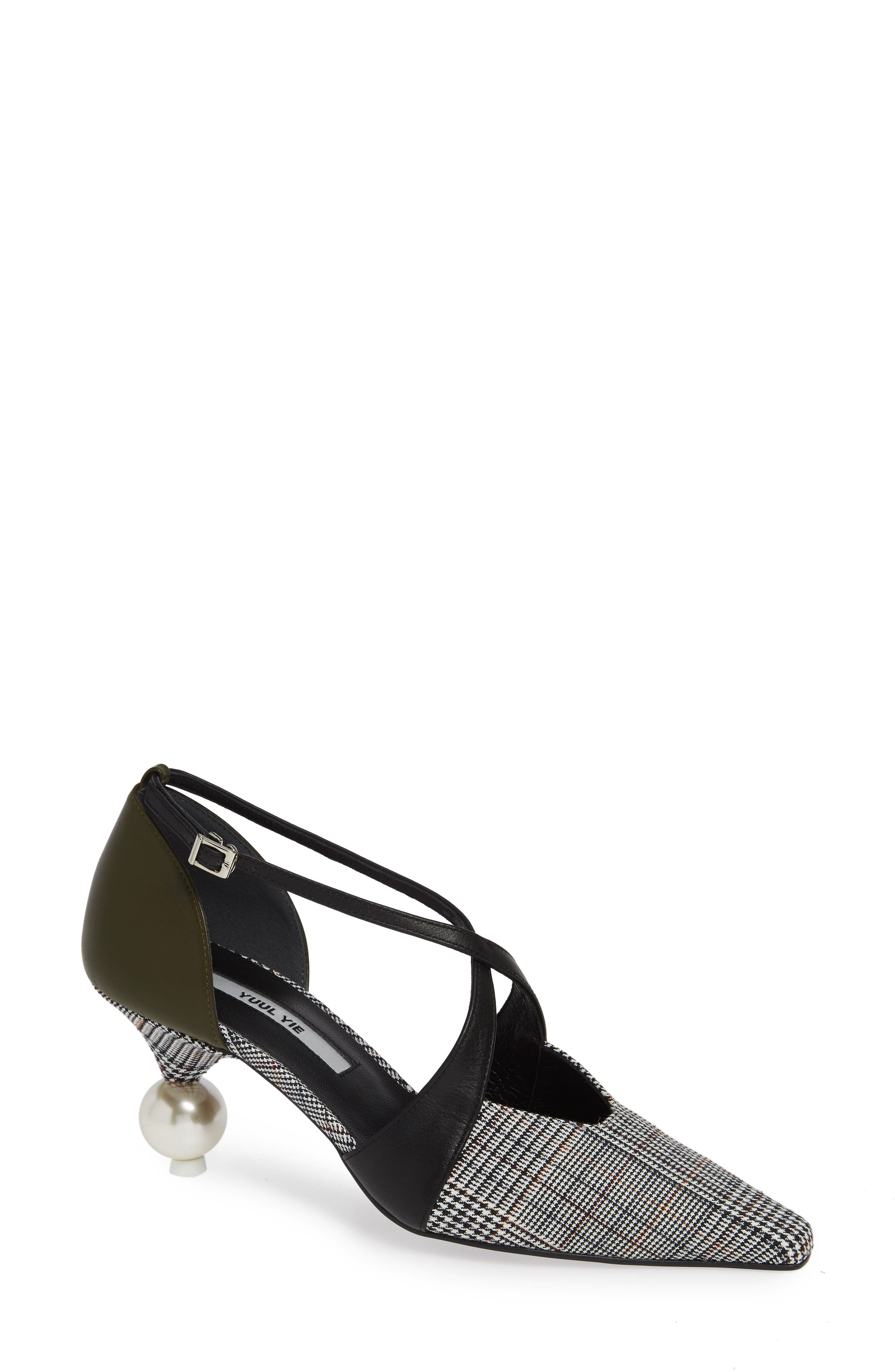 Faux Fur Statement Heel Pump in Grey Check/ Olive/ Black