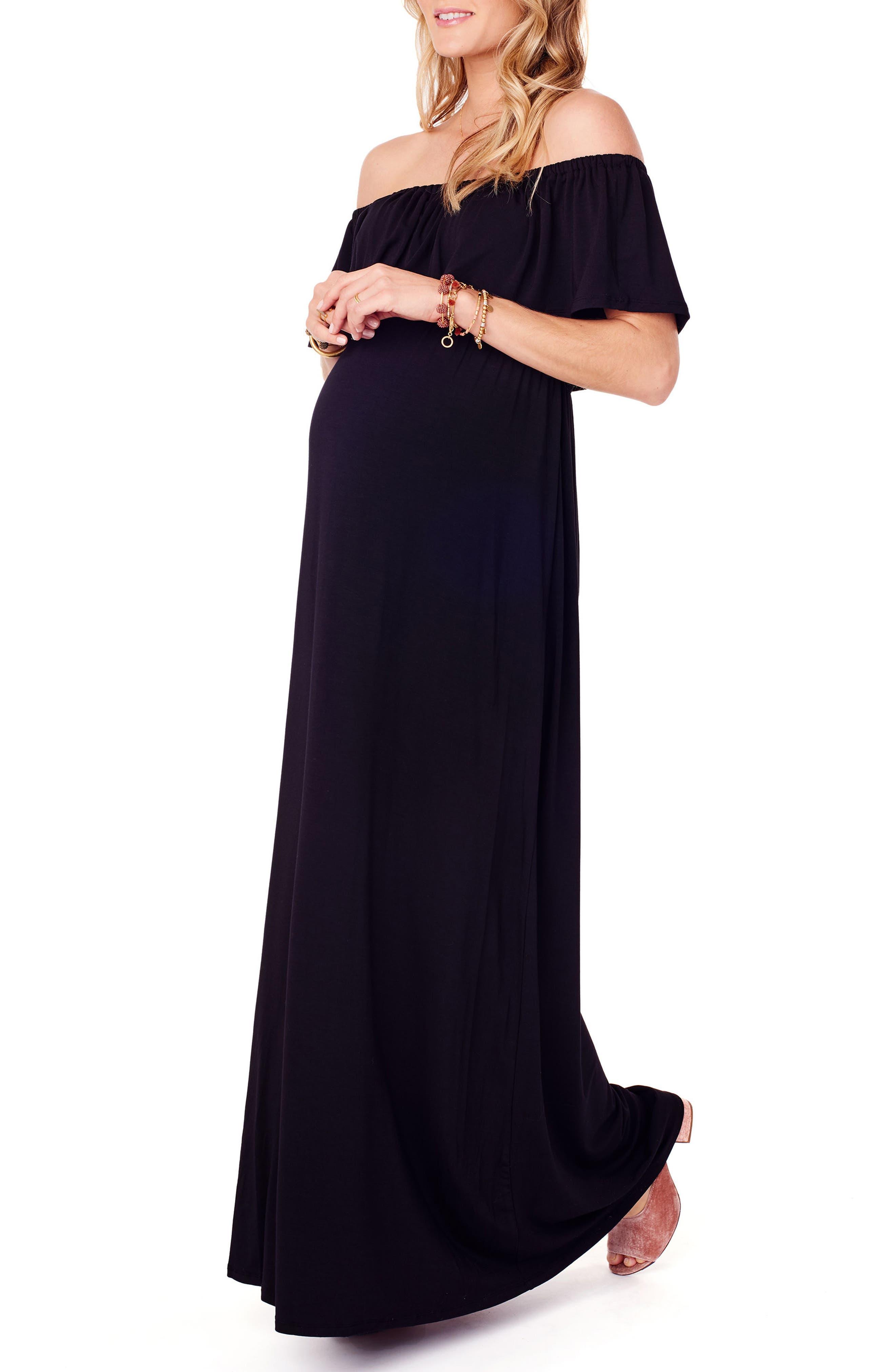 Off the Shoulder Maternity Maxi Dress,                             Alternate thumbnail 3, color,                             JET BLACK