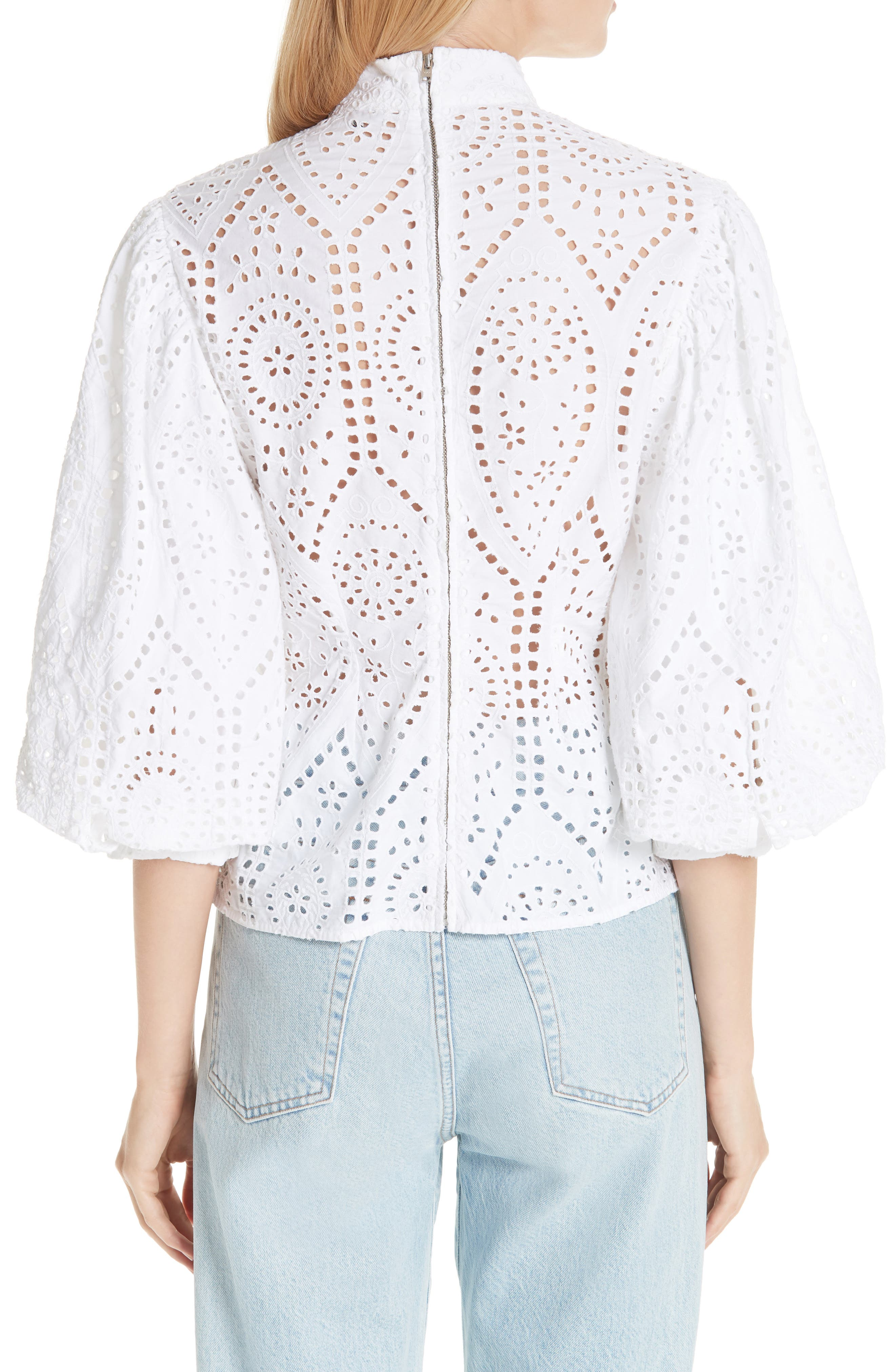 Broderie Anglaise Shirt,                             Alternate thumbnail 2, color,                             BRIGHT WHITE 151