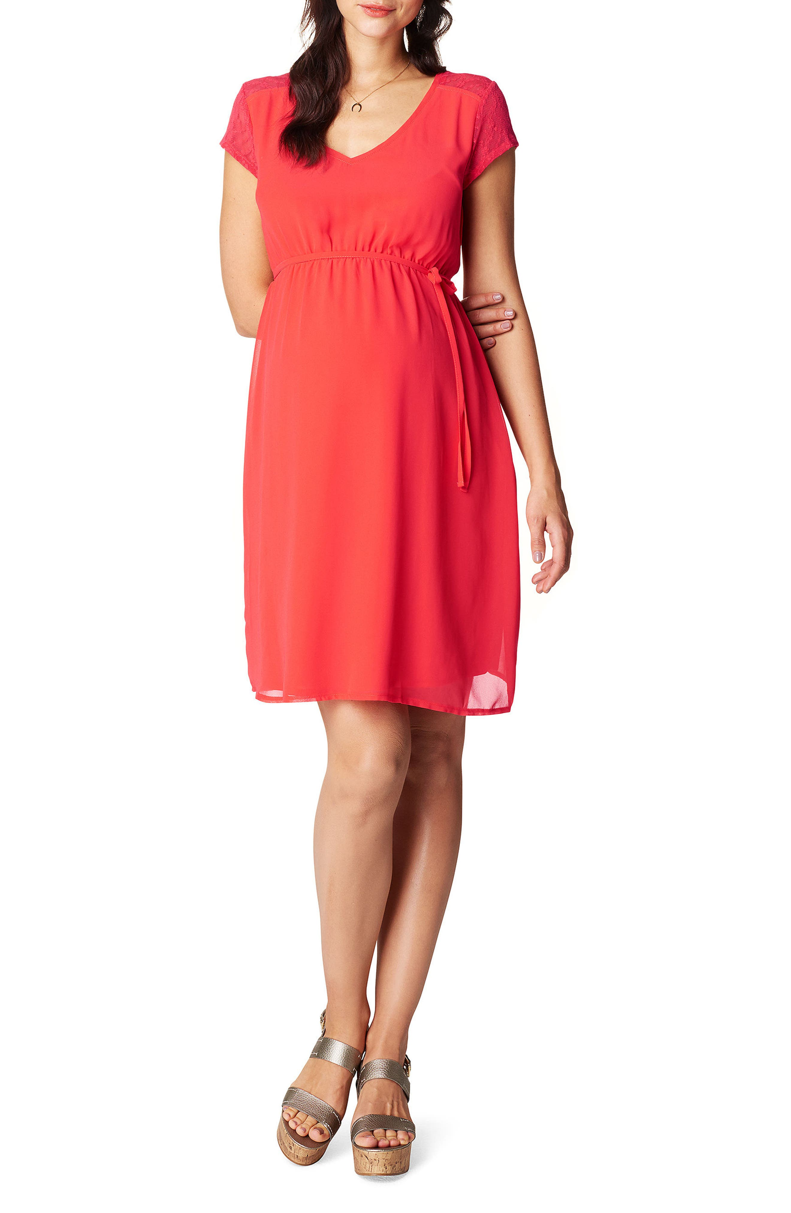 Noelle Maternity Dress,                         Main,                         color, RED