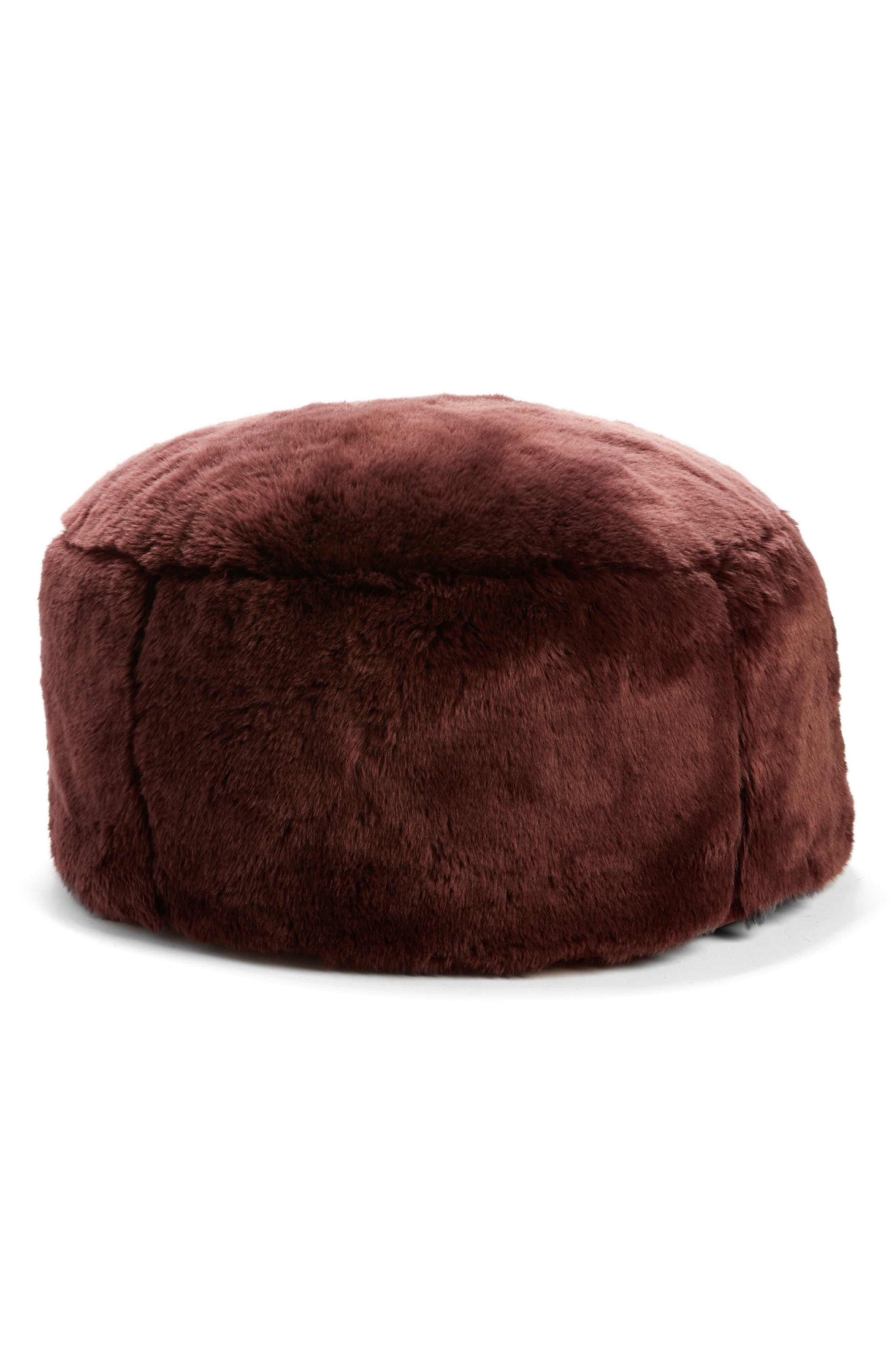 Cuddle Up Faux Fur Drum Pouf, Main, color, BURGUNDY STEM