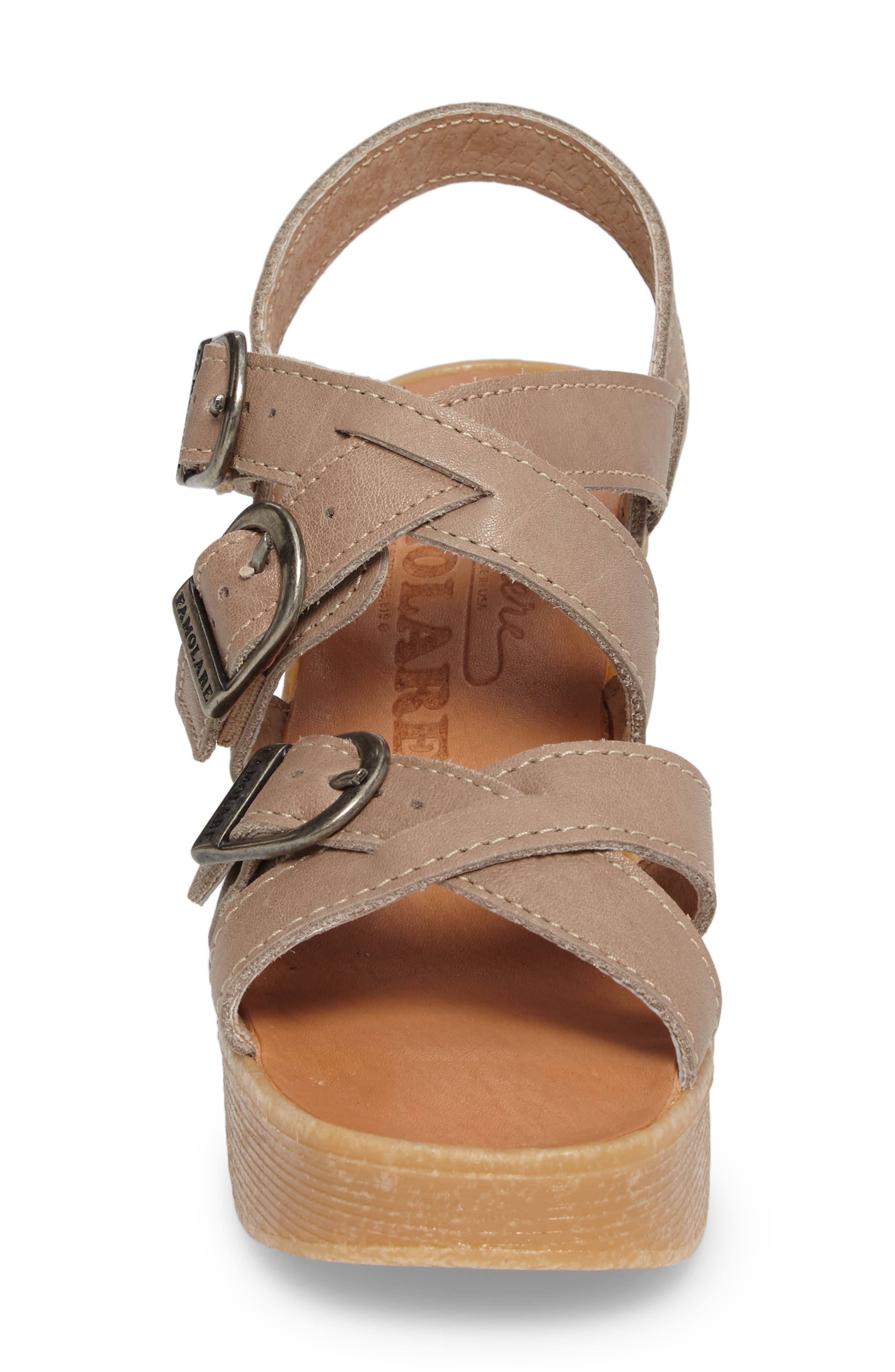 Buckle Up Wedge Sandal,                             Alternate thumbnail 4, color,                             SAND LEATHER