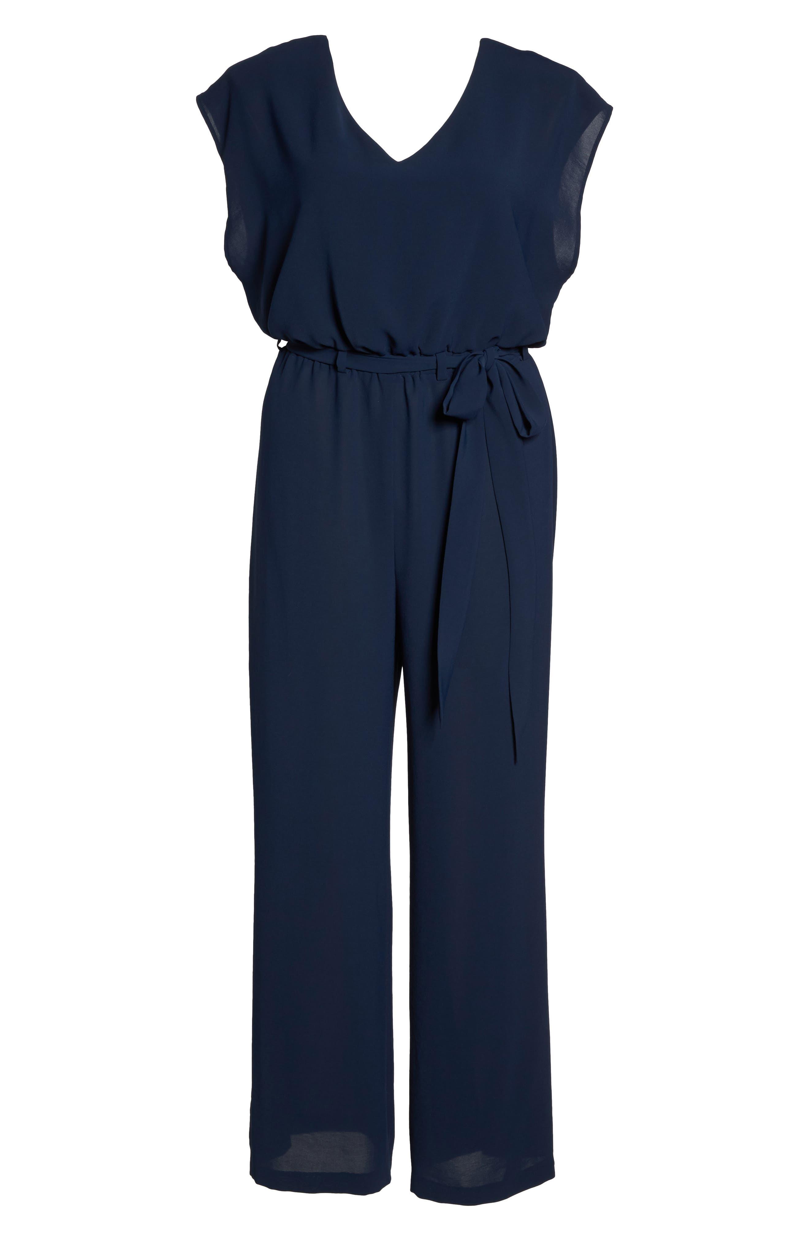 Crepe Belted Jumpsuit,                             Alternate thumbnail 6, color,                             411