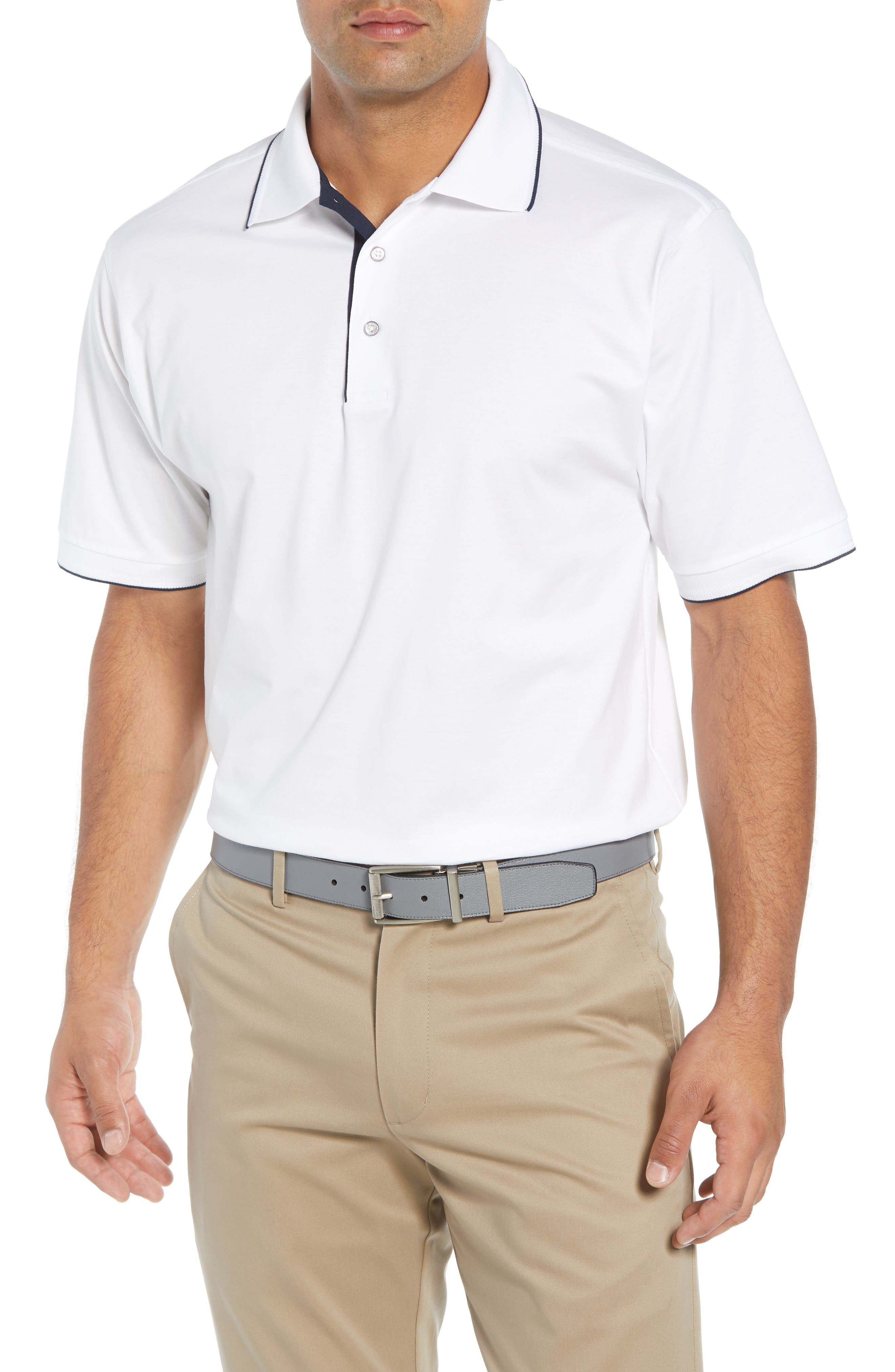 BOBBY JONES Solid Tipped Polo in White