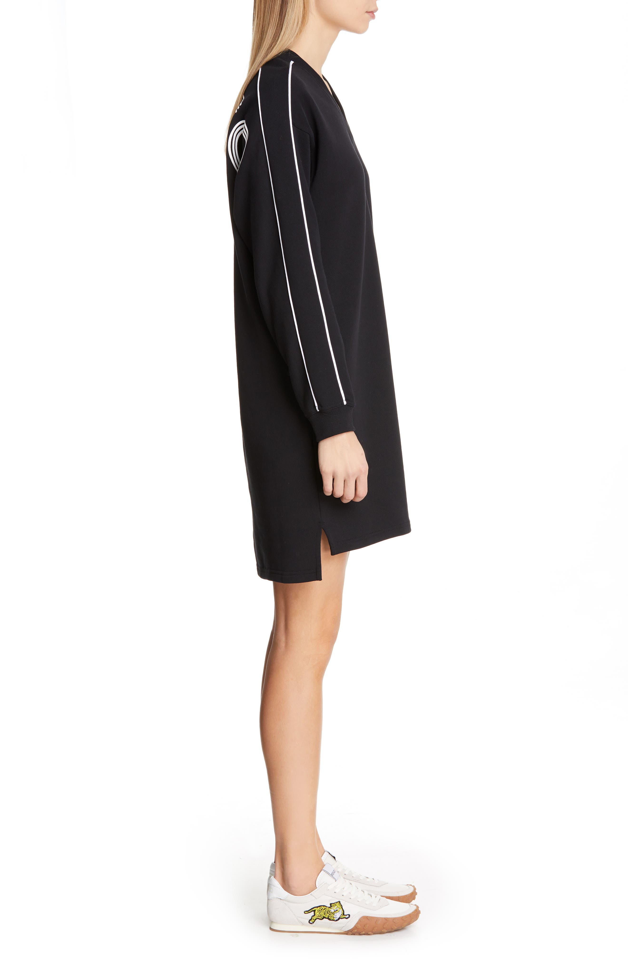 KENZO,                             Sport Sweatshirt Dress,                             Alternate thumbnail 3, color,                             BLACK