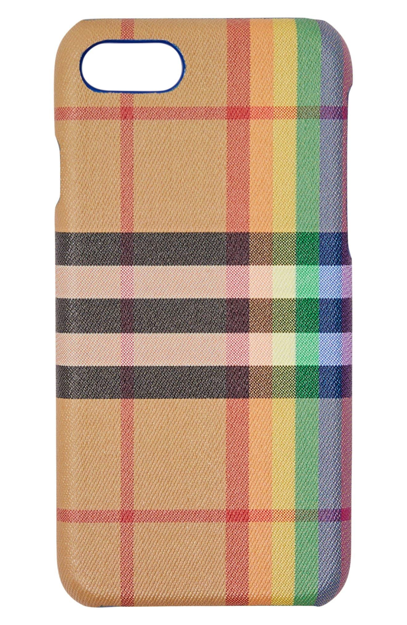 Vintage Check Rainbow iPhone 8 Case,                             Main thumbnail 1, color,                             250