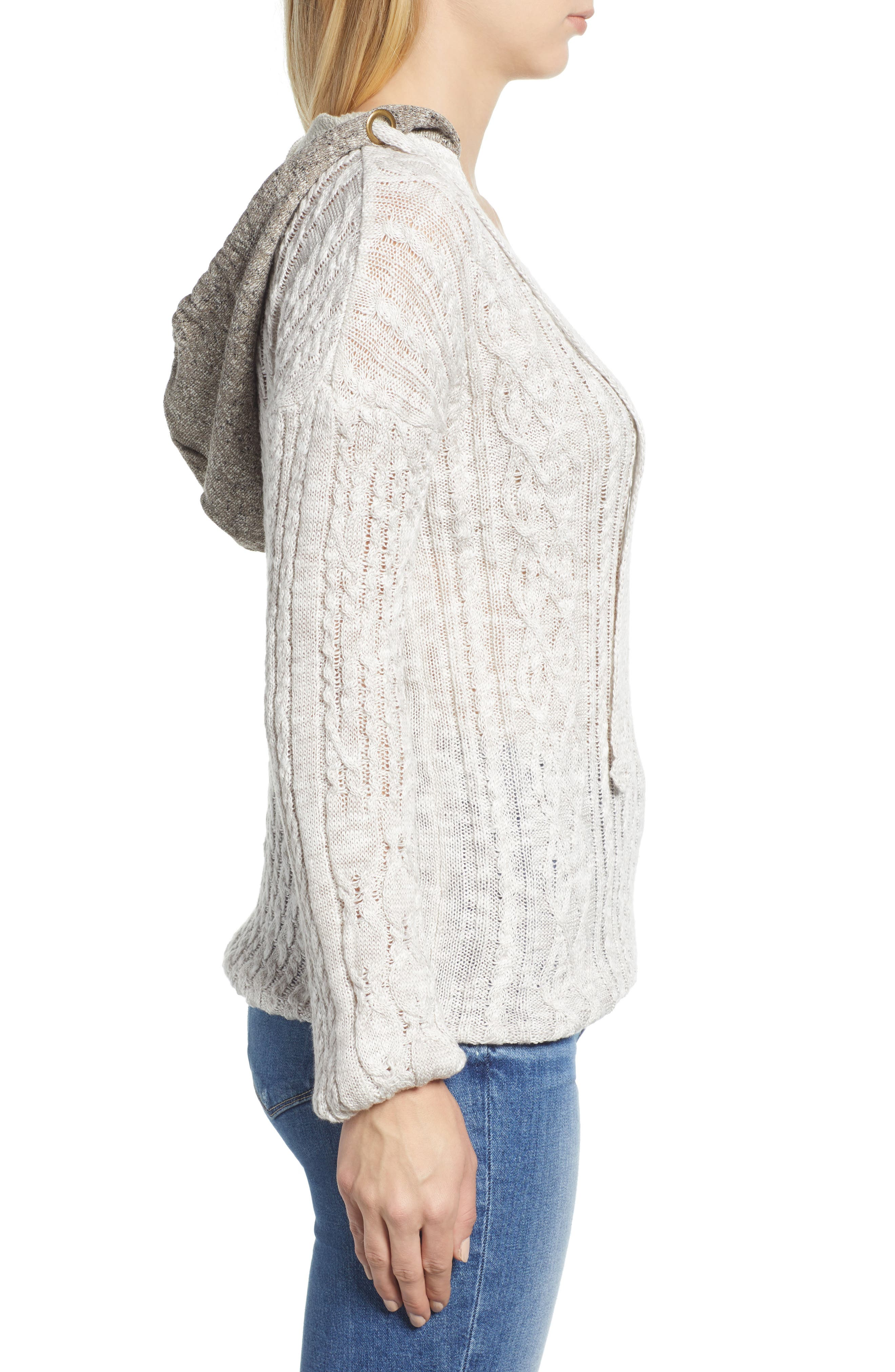 Cable Knit Hoodie,                             Alternate thumbnail 3, color,                             LIGHT GREY