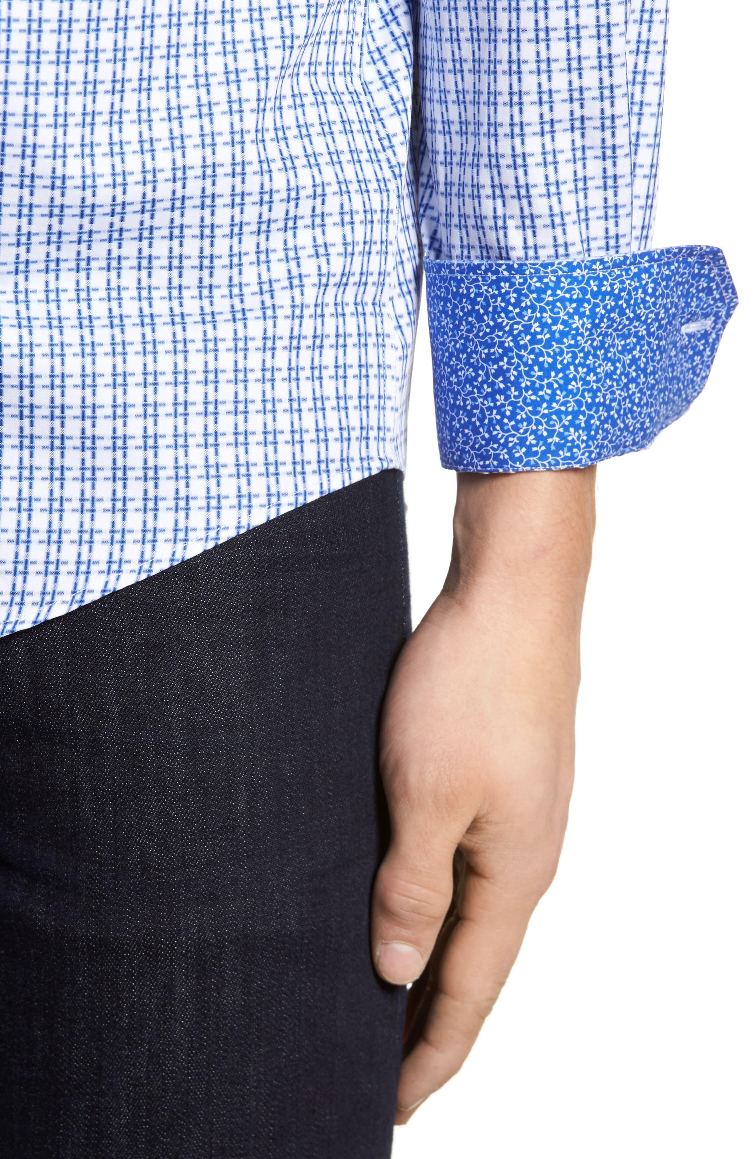 Double Stripe Classic Fit Sport Shirt,                             Alternate thumbnail 4, color,                             NAVY