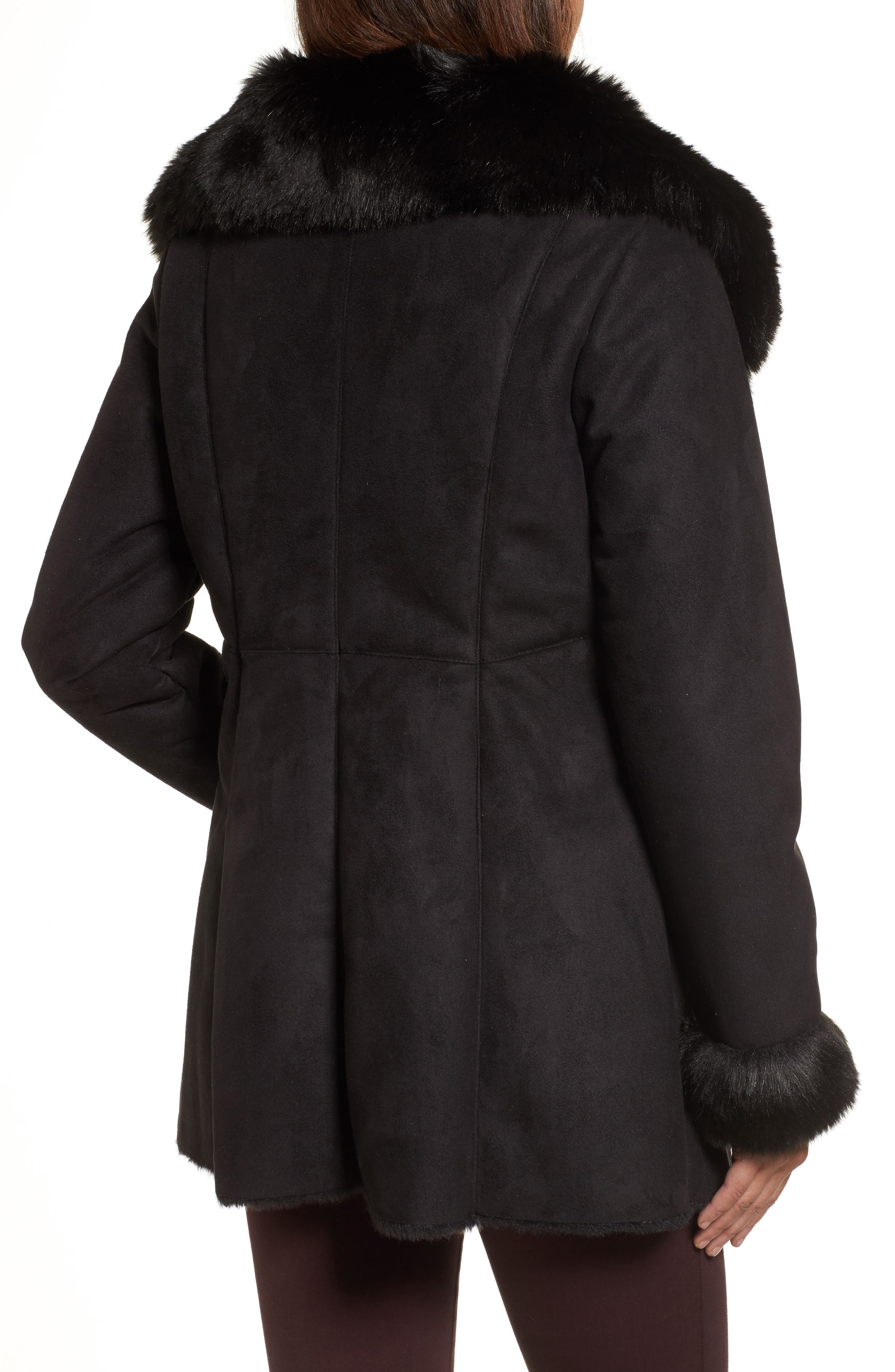 Faux Shearling Coat,                             Alternate thumbnail 2, color,                             001