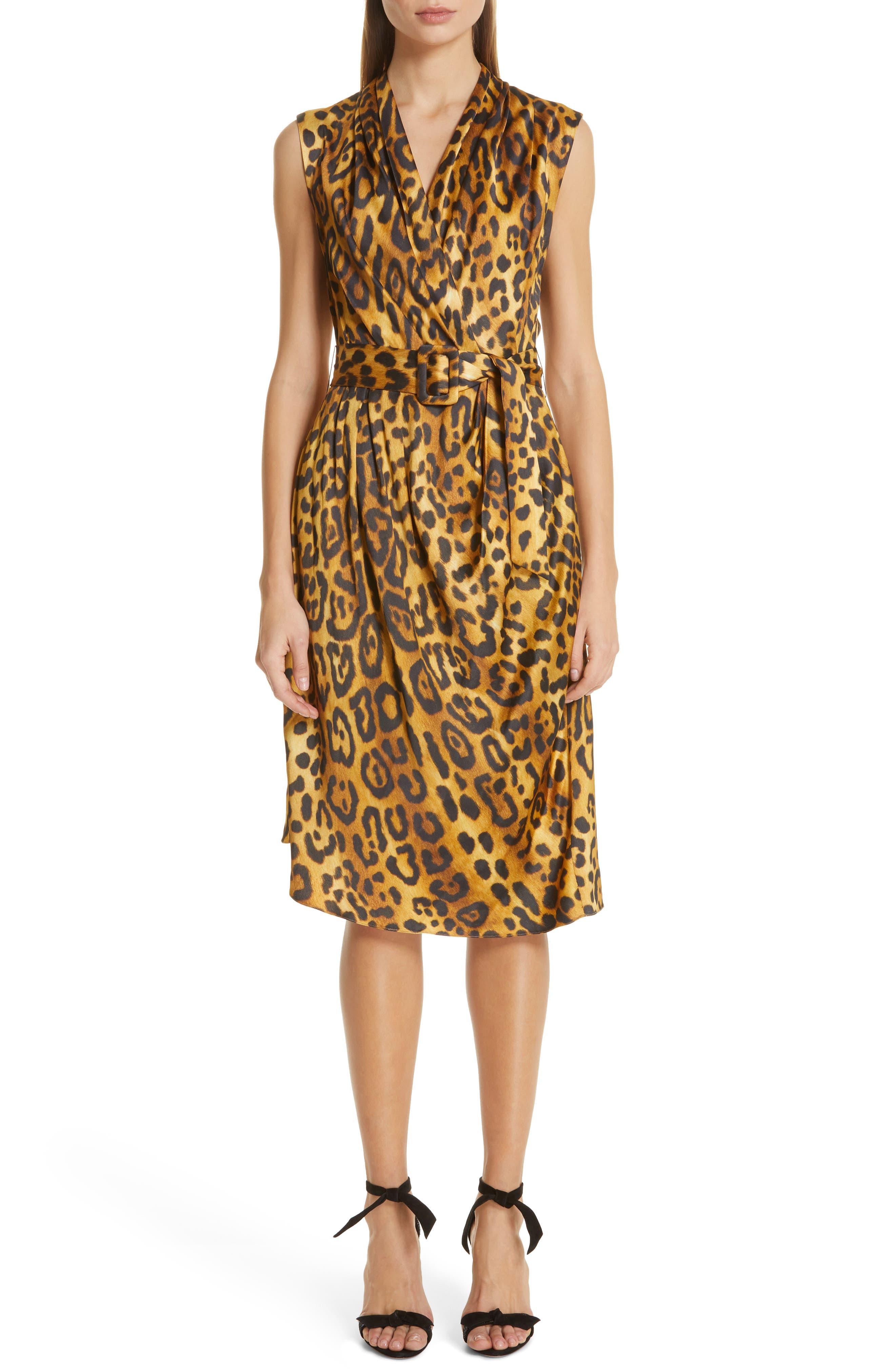 Adam Lippes Jaguar Print Belted Dress, Brown
