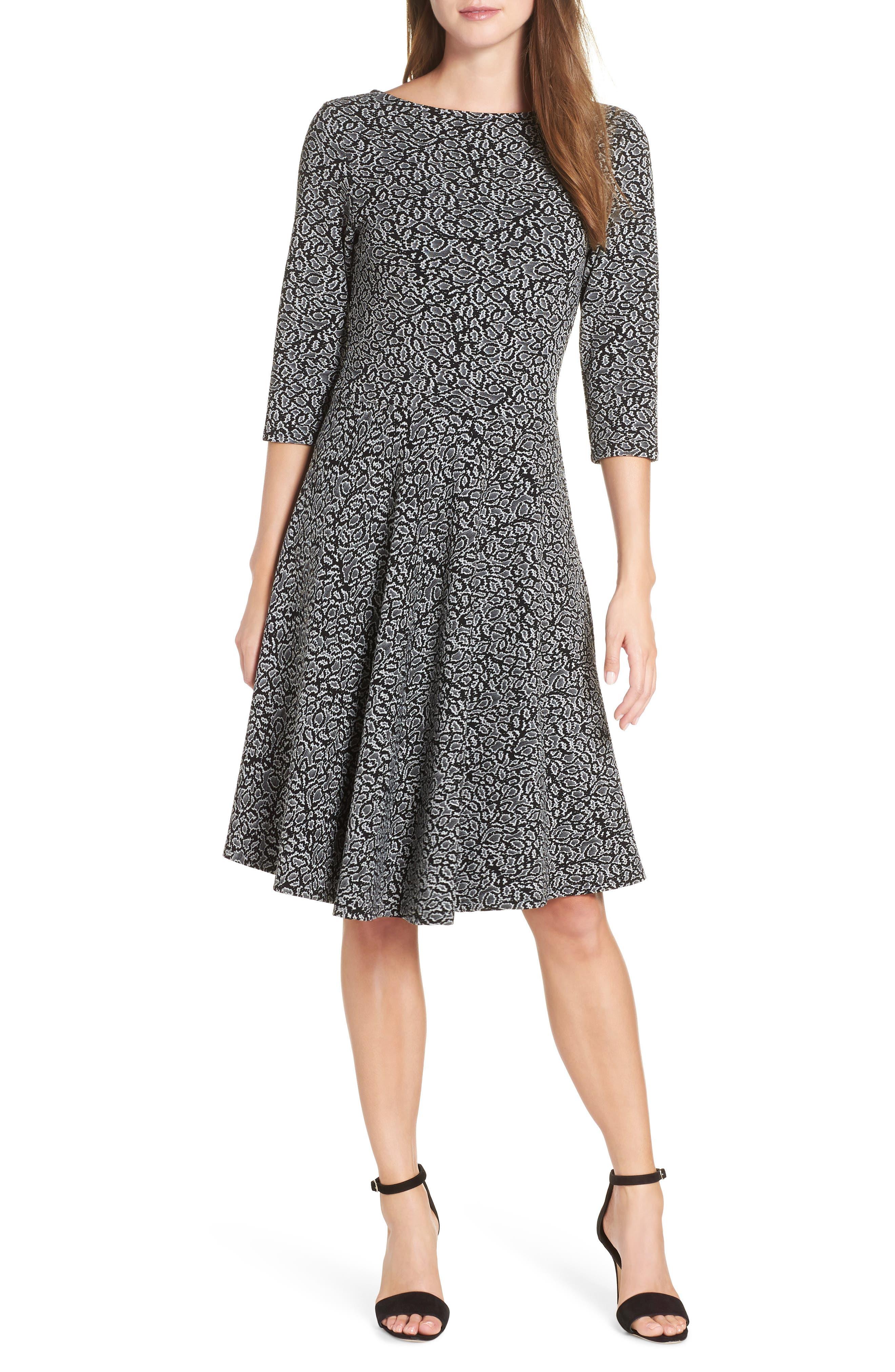 Circle Knit Fit & Flare Dress,                             Main thumbnail 1, color,                             013