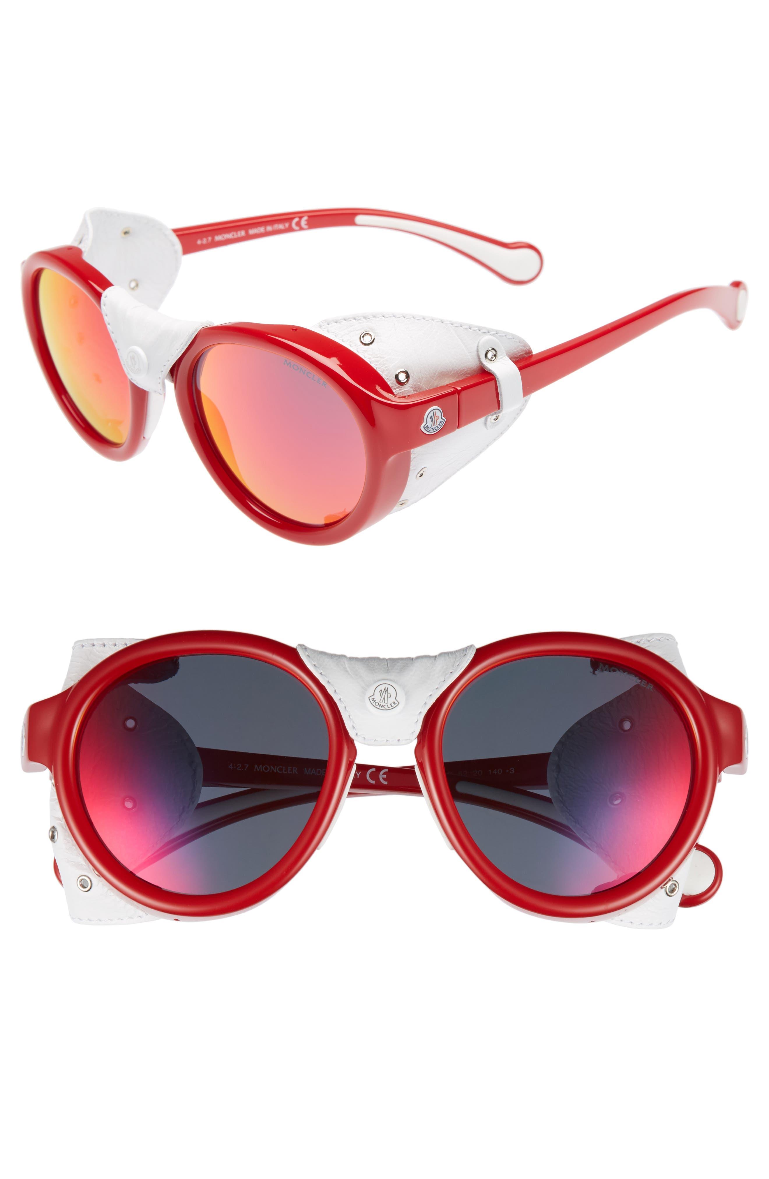 52mm Round Frame Retro Sunglasses,                         Main,                         color, SHINY RED